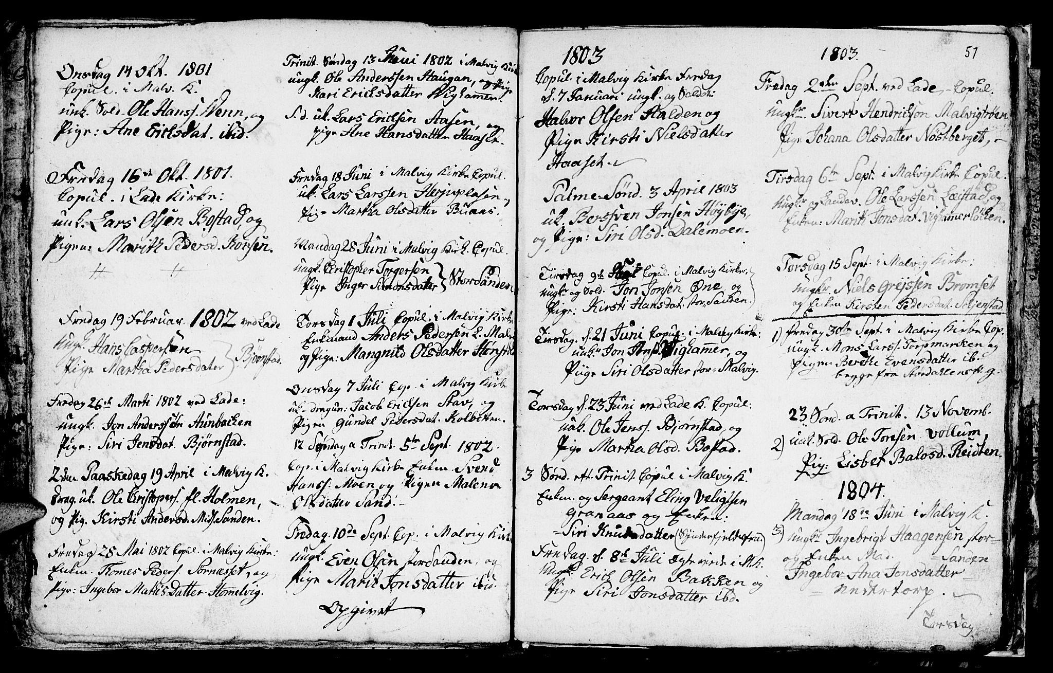 SAT, Ministerialprotokoller, klokkerbøker og fødselsregistre - Sør-Trøndelag, 616/L0419: Klokkerbok nr. 616C02, 1797-1816, s. 57