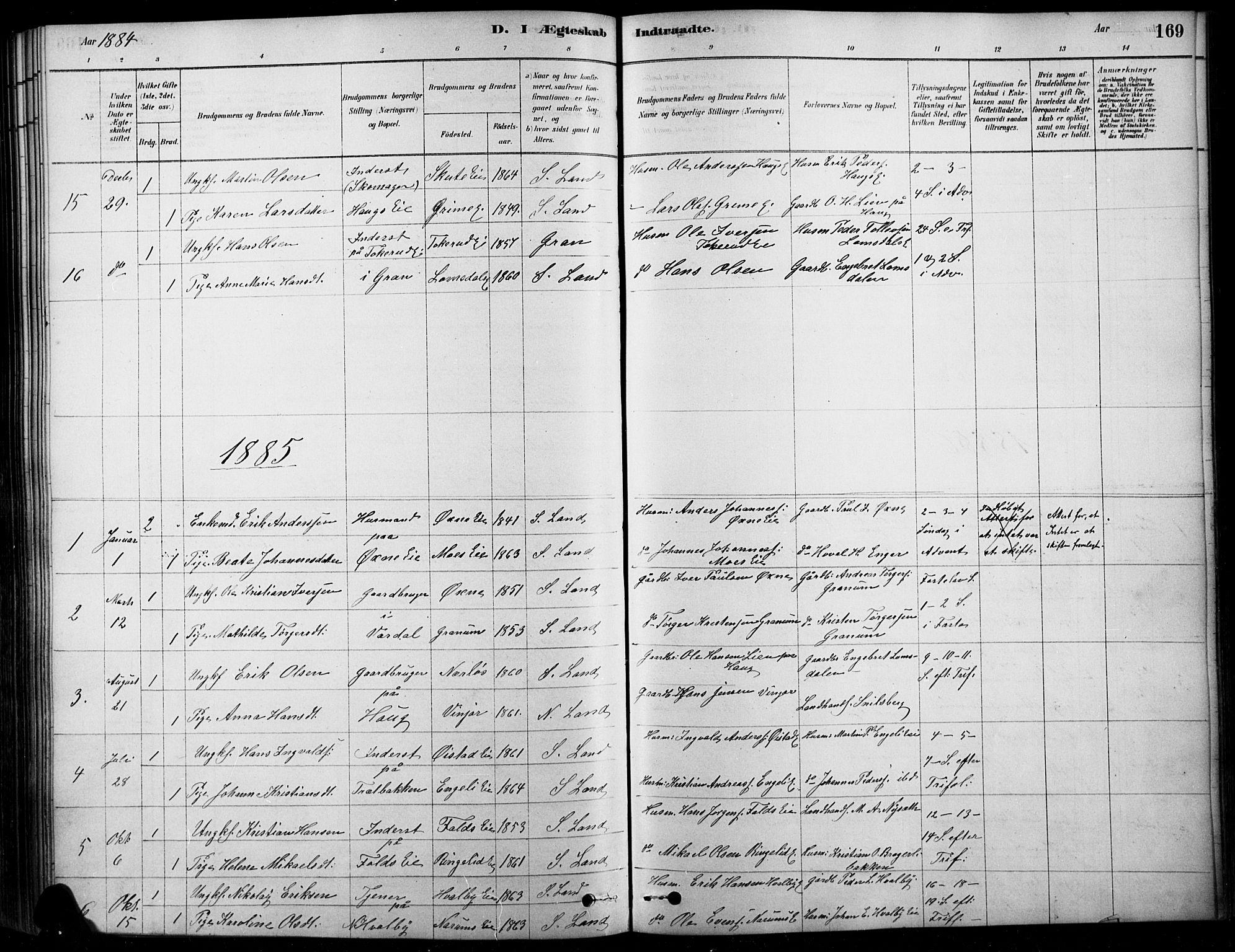 SAH, Søndre Land prestekontor, K/L0003: Ministerialbok nr. 3, 1878-1894, s. 169
