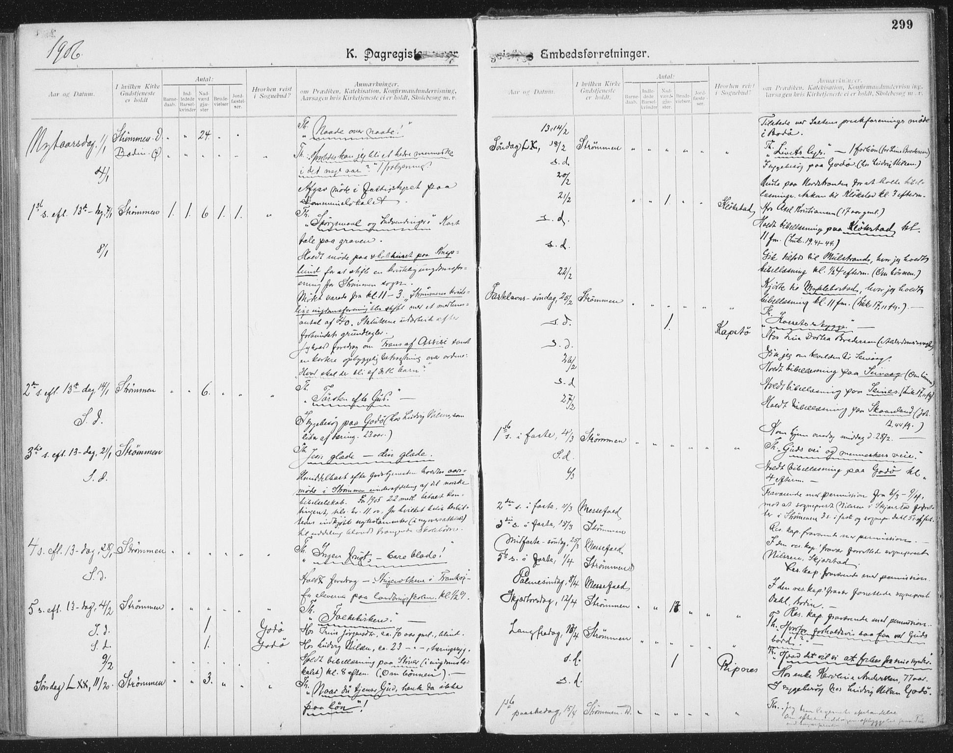 SAT, Ministerialprotokoller, klokkerbøker og fødselsregistre - Nordland, 804/L0081: Ministerialbok nr. 804A02, 1901-1915, s. 299