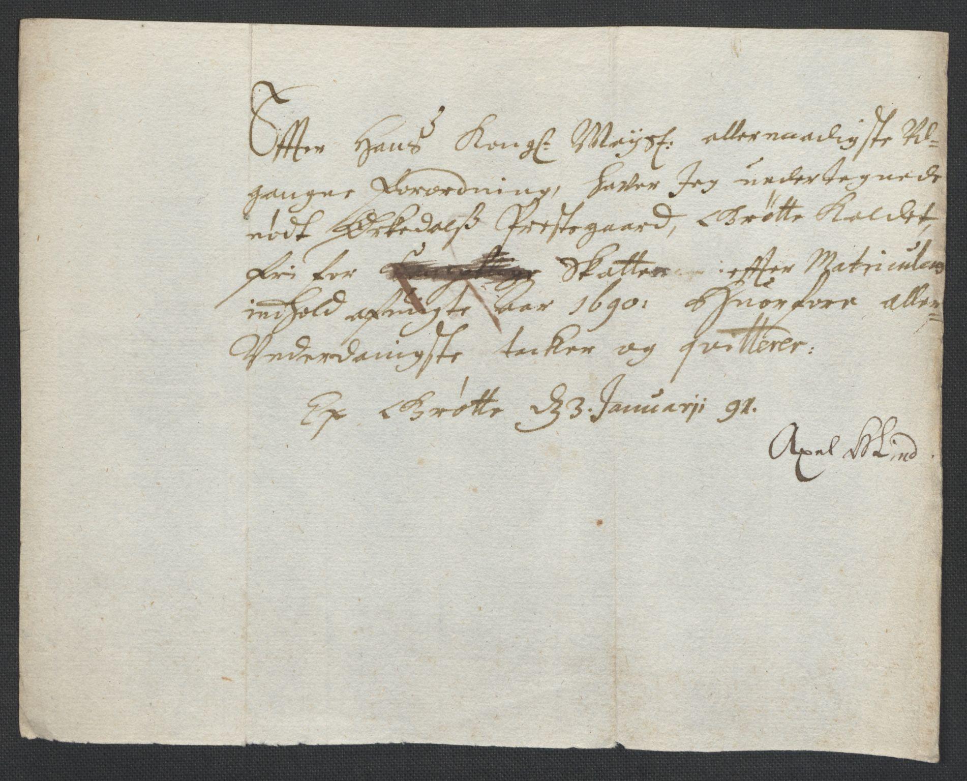 RA, Rentekammeret inntil 1814, Reviderte regnskaper, Fogderegnskap, R58/L3936: Fogderegnskap Orkdal, 1689-1690, s. 435