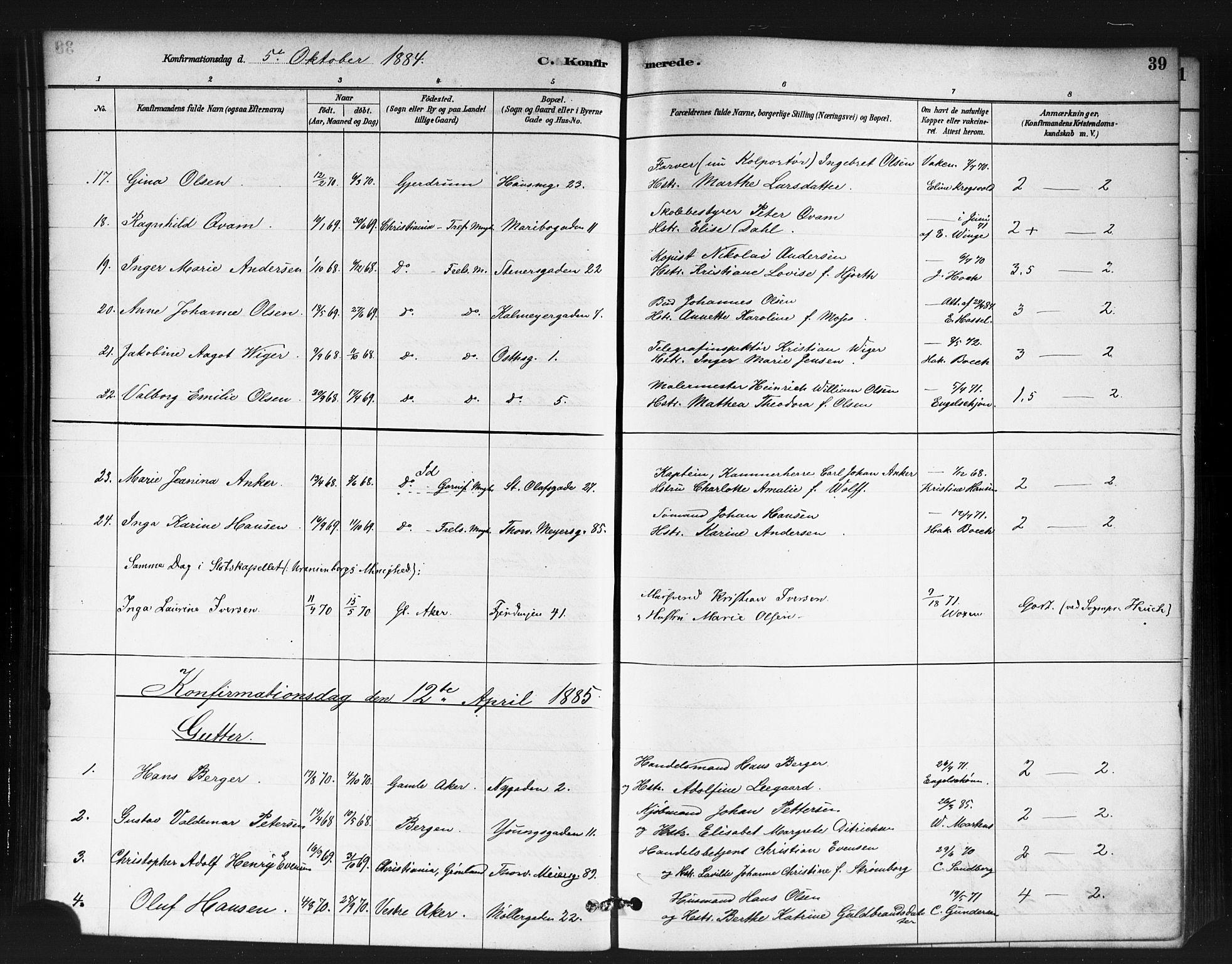 SAO, Jakob prestekontor Kirkebøker, F/Fa/L0004: Ministerialbok nr. 4, 1880-1894, s. 39