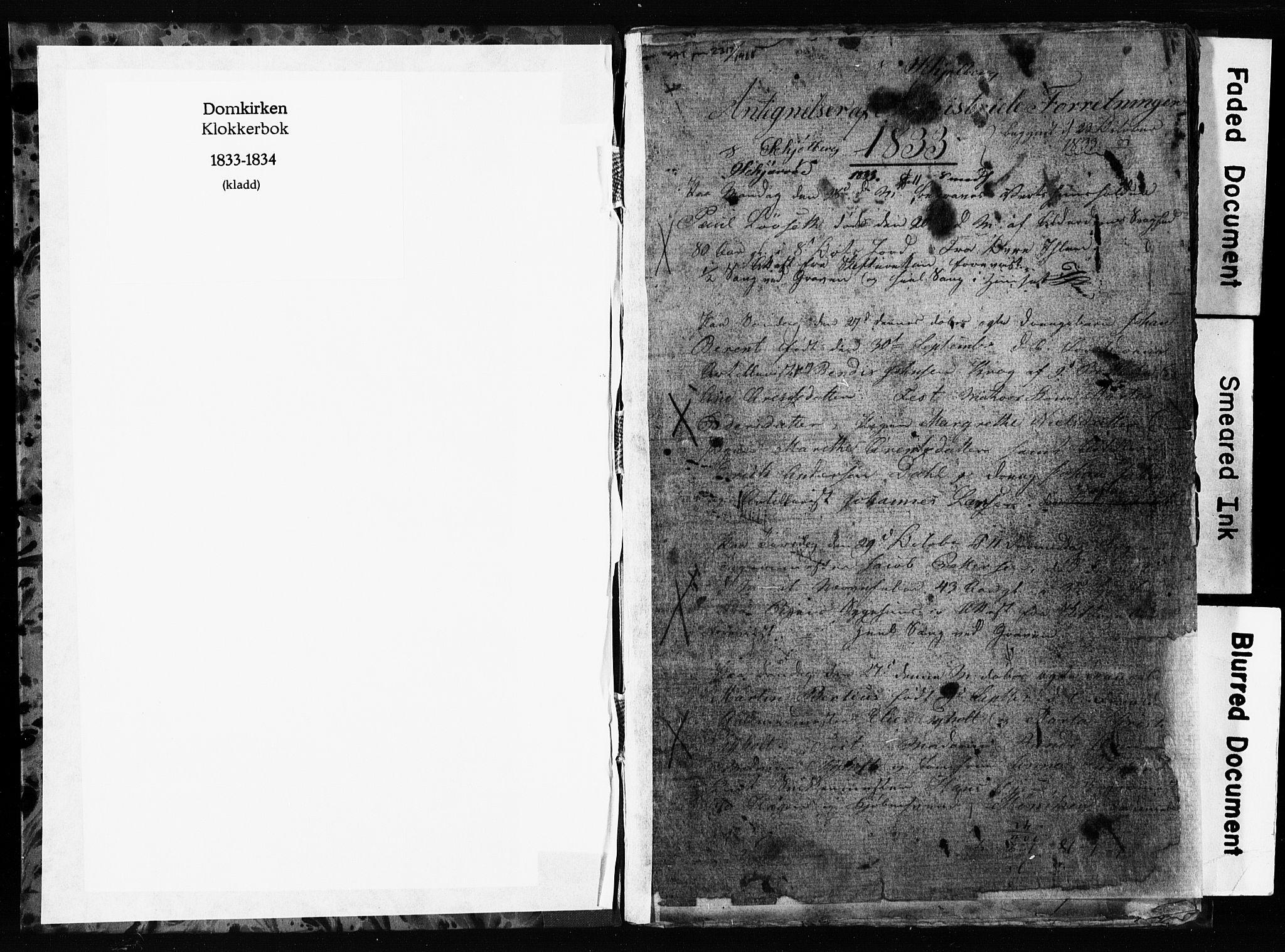 SAT, Ministerialprotokoller, klokkerbøker og fødselsregistre - Sør-Trøndelag, 601/L0082: Klokkerbok nr. 601C00, 1833-1834, s. 0-1