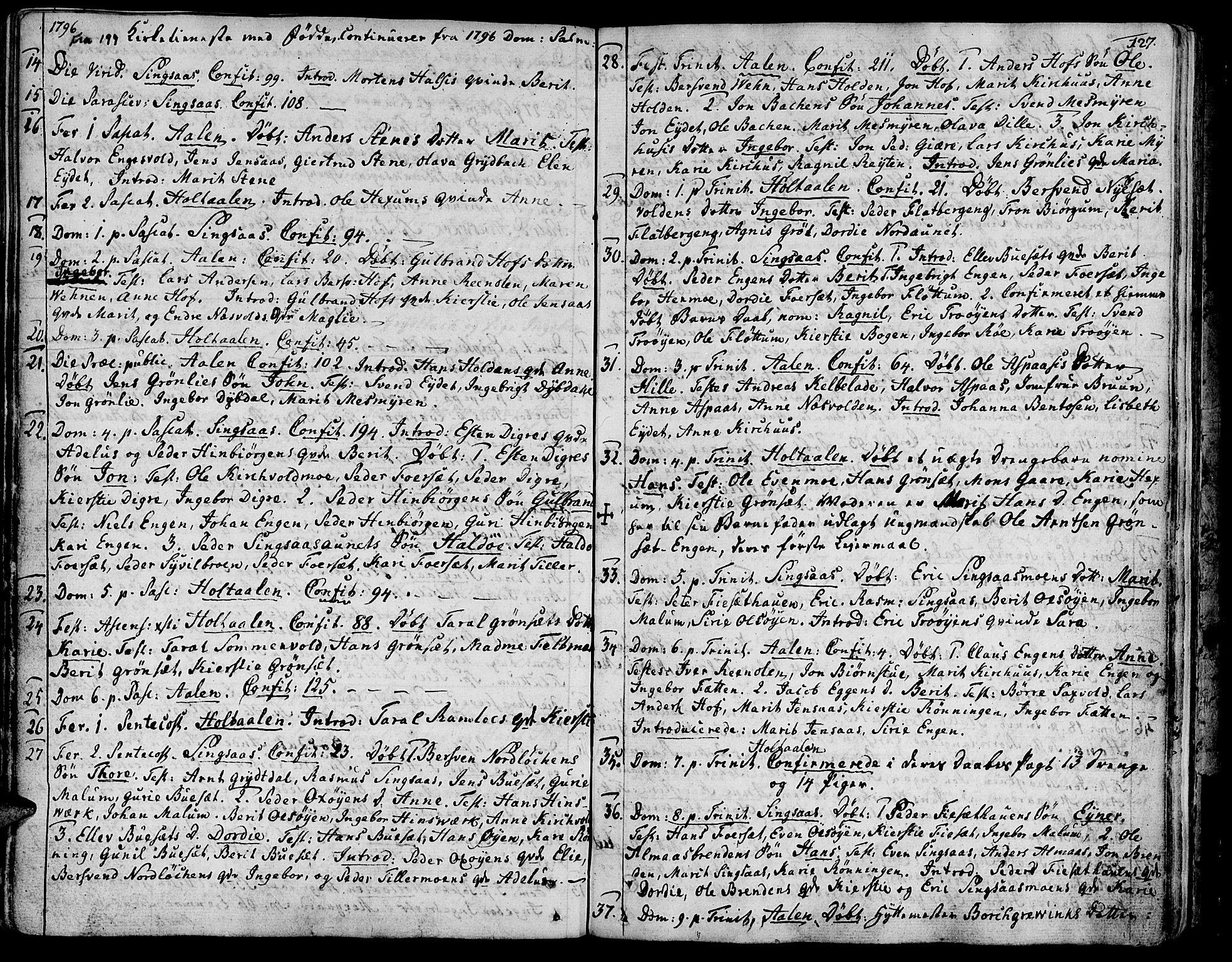 SAT, Ministerialprotokoller, klokkerbøker og fødselsregistre - Sør-Trøndelag, 685/L0952: Ministerialbok nr. 685A01, 1745-1804, s. 127