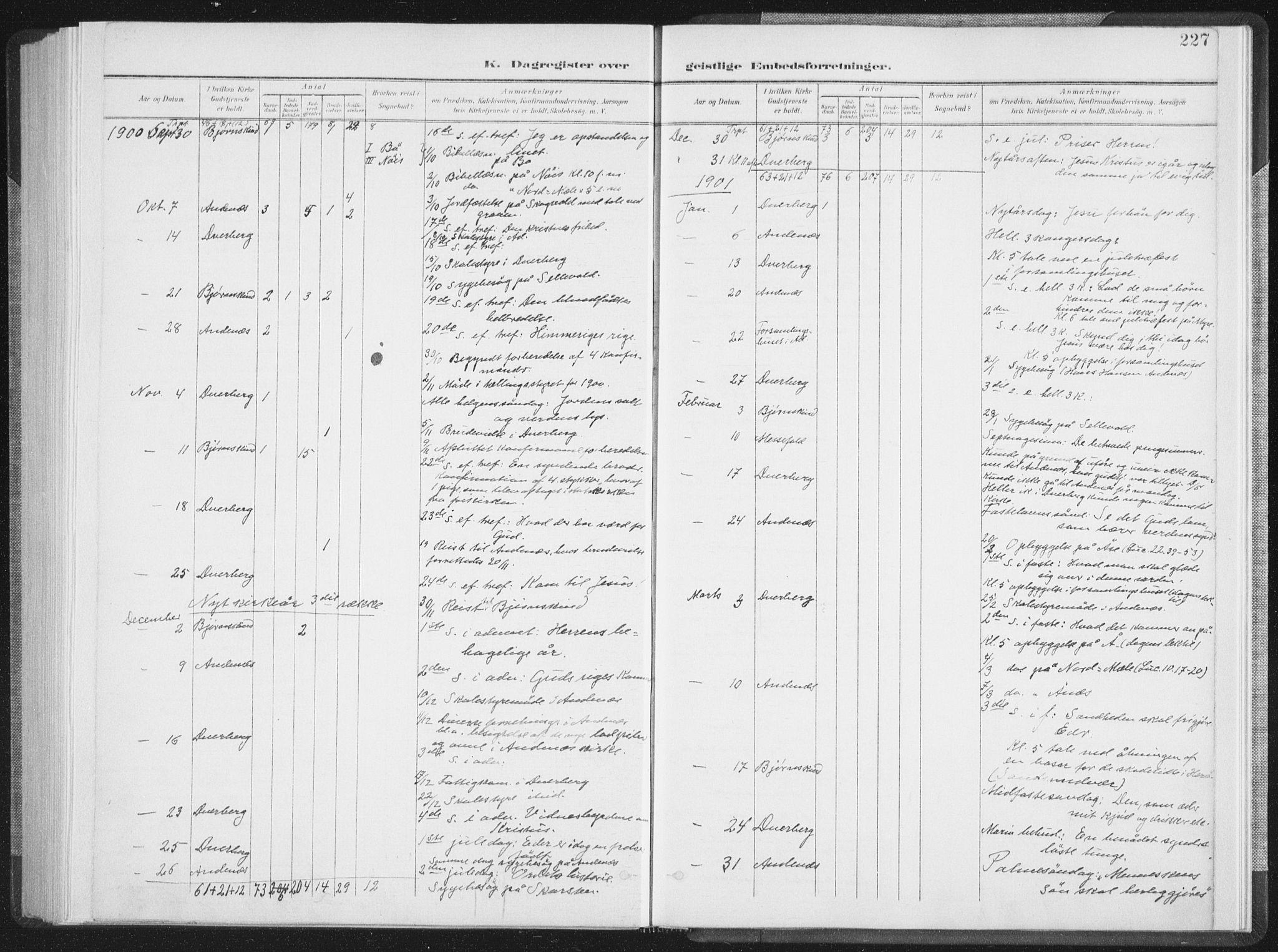 SAT, Ministerialprotokoller, klokkerbøker og fødselsregistre - Nordland, 897/L1400: Ministerialbok nr. 897A07, 1897-1908, s. 227