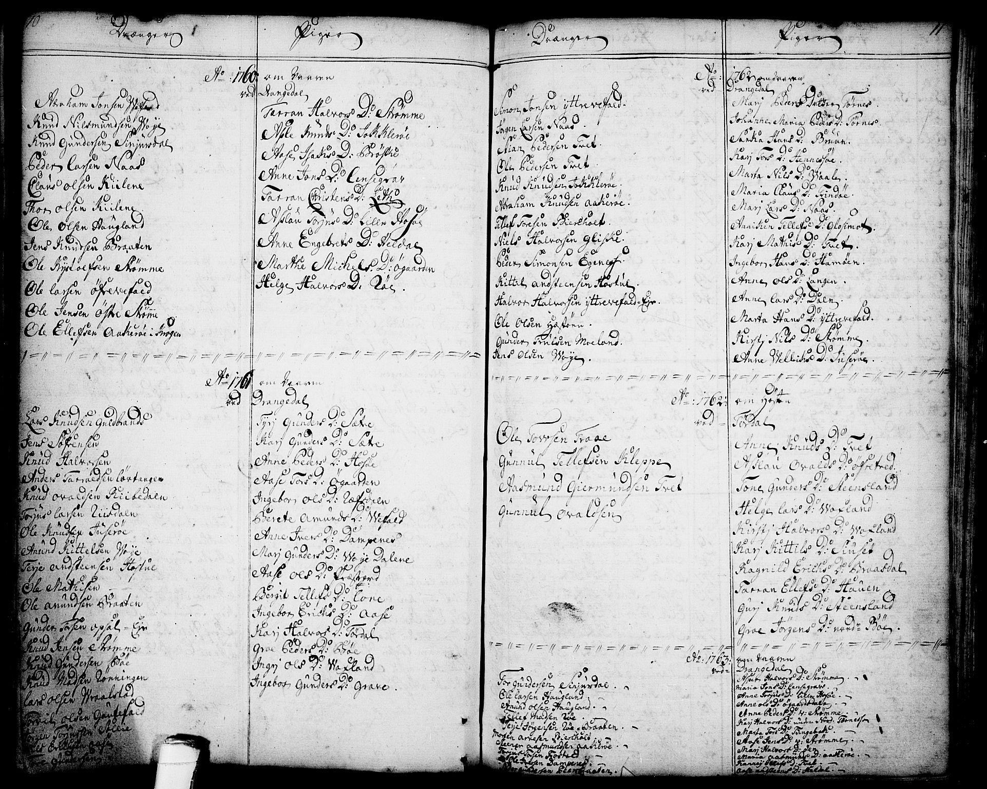 SAKO, Drangedal kirkebøker, F/Fa/L0001: Ministerialbok nr. 1, 1697-1767, s. 10-11