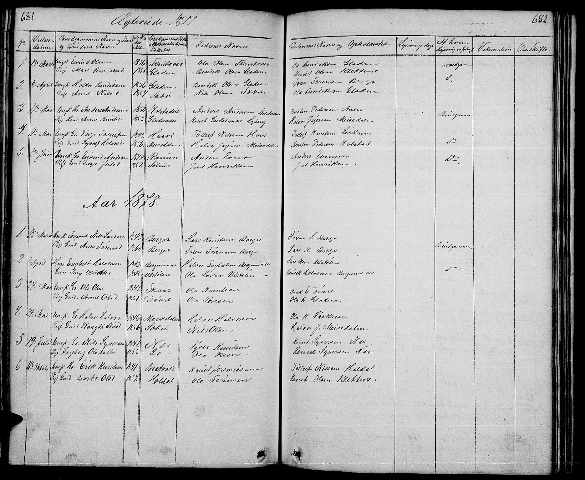 SAH, Nord-Aurdal prestekontor, Klokkerbok nr. 1, 1834-1887, s. 681-682