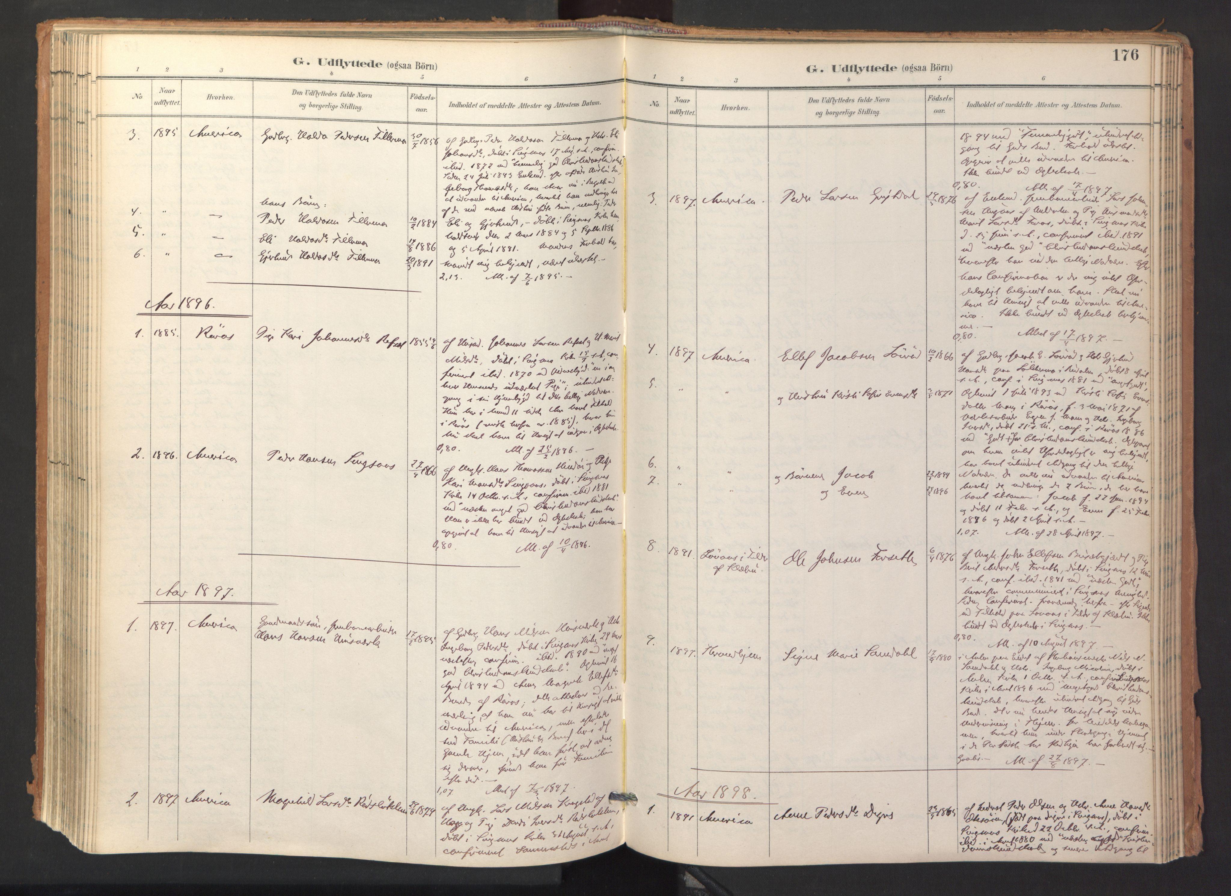 SAT, Ministerialprotokoller, klokkerbøker og fødselsregistre - Sør-Trøndelag, 688/L1025: Ministerialbok nr. 688A02, 1891-1909, s. 176