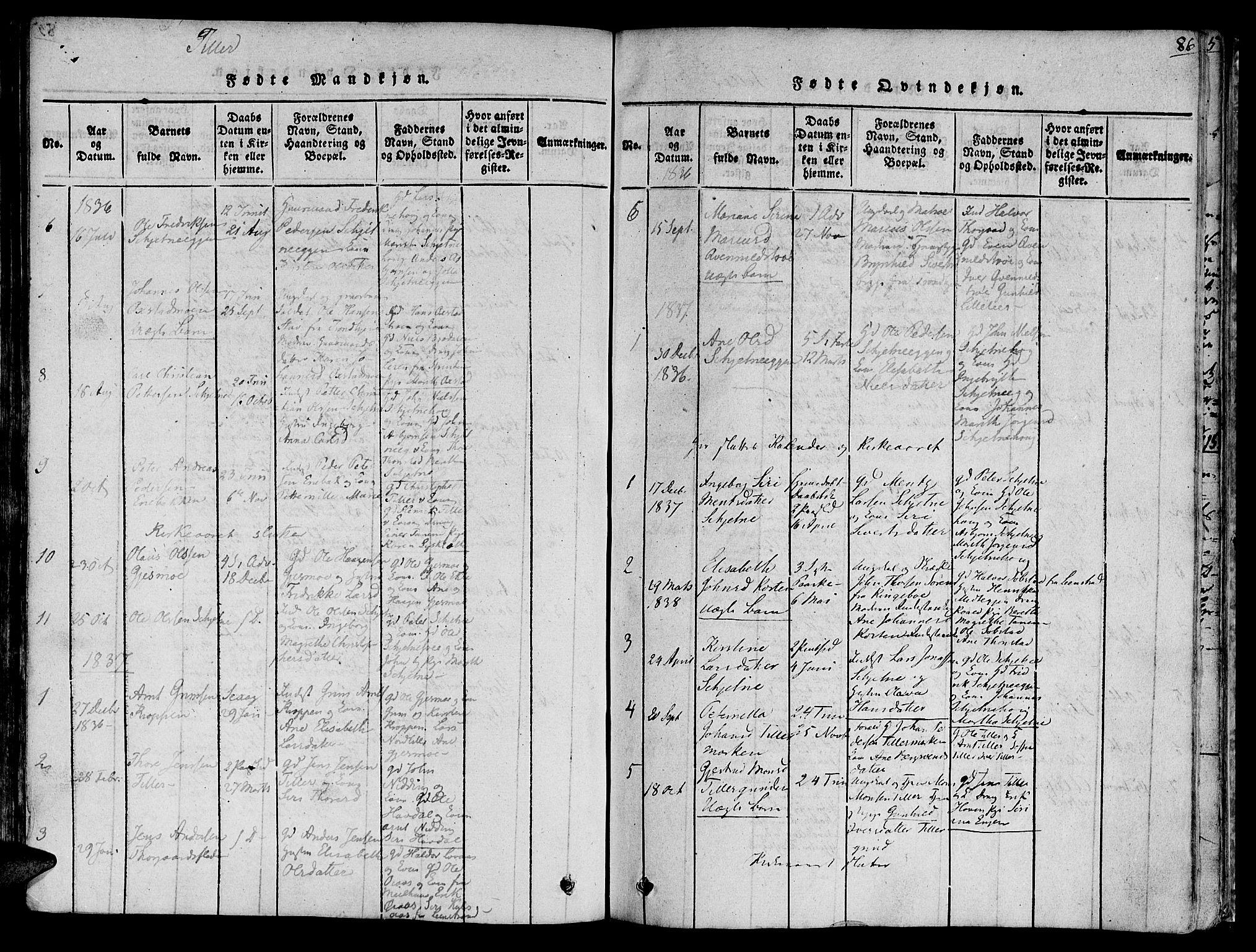 SAT, Ministerialprotokoller, klokkerbøker og fødselsregistre - Sør-Trøndelag, 618/L0440: Ministerialbok nr. 618A04 /2, 1816-1843, s. 86