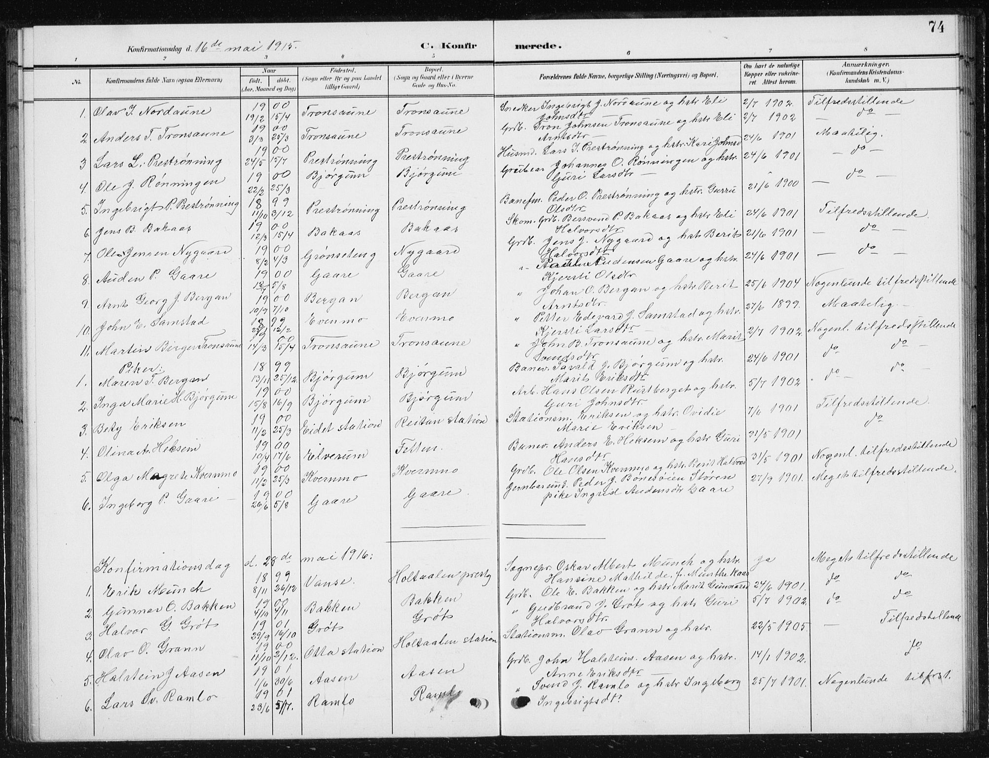 SAT, Ministerialprotokoller, klokkerbøker og fødselsregistre - Sør-Trøndelag, 685/L0979: Klokkerbok nr. 685C04, 1908-1933, s. 74
