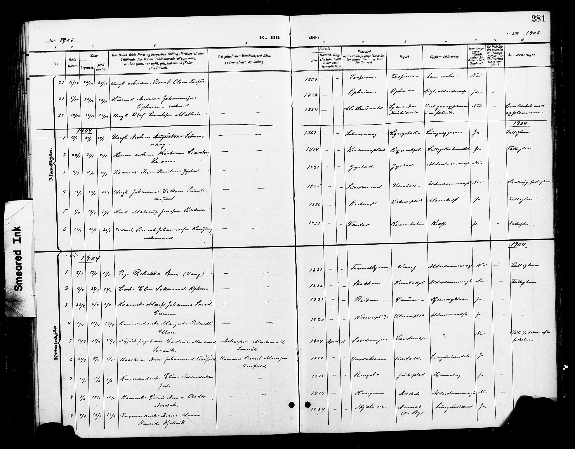 SAT, Ministerialprotokoller, klokkerbøker og fødselsregistre - Nord-Trøndelag, 730/L0302: Klokkerbok nr. 730C05, 1898-1924, s. 281
