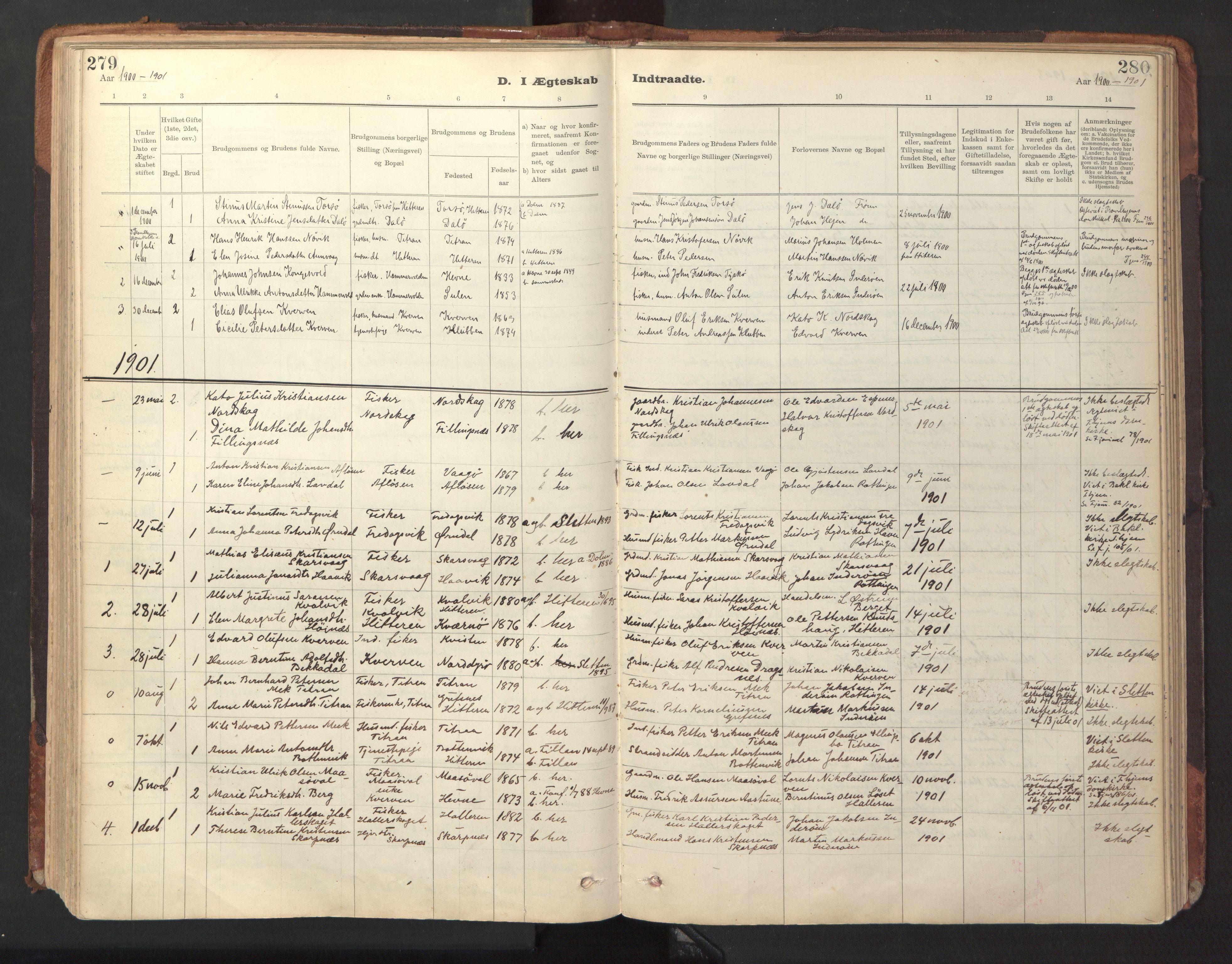 SAT, Ministerialprotokoller, klokkerbøker og fødselsregistre - Sør-Trøndelag, 641/L0596: Ministerialbok nr. 641A02, 1898-1915, s. 279-280