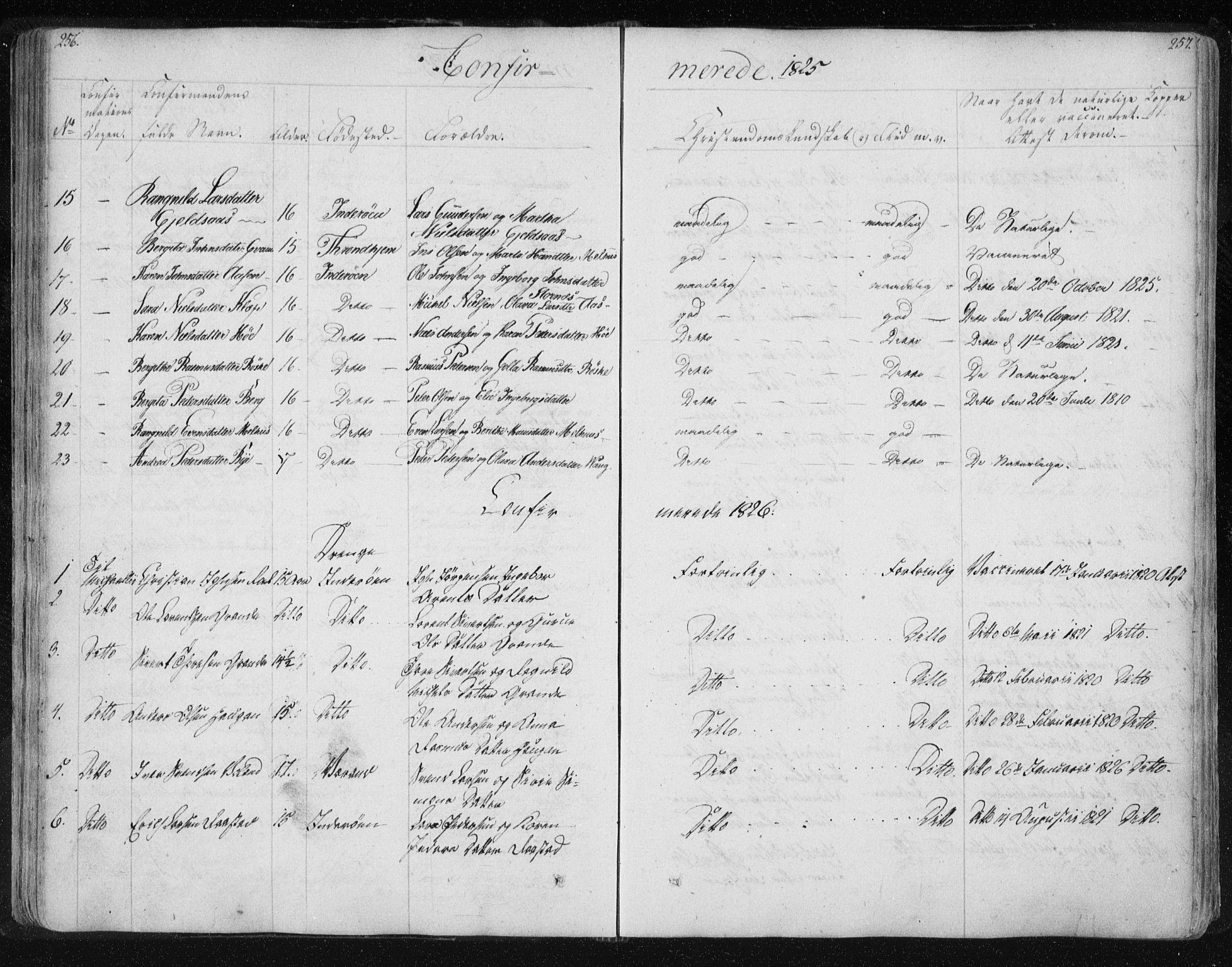 SAT, Ministerialprotokoller, klokkerbøker og fødselsregistre - Nord-Trøndelag, 730/L0276: Ministerialbok nr. 730A05, 1822-1830, s. 256-257