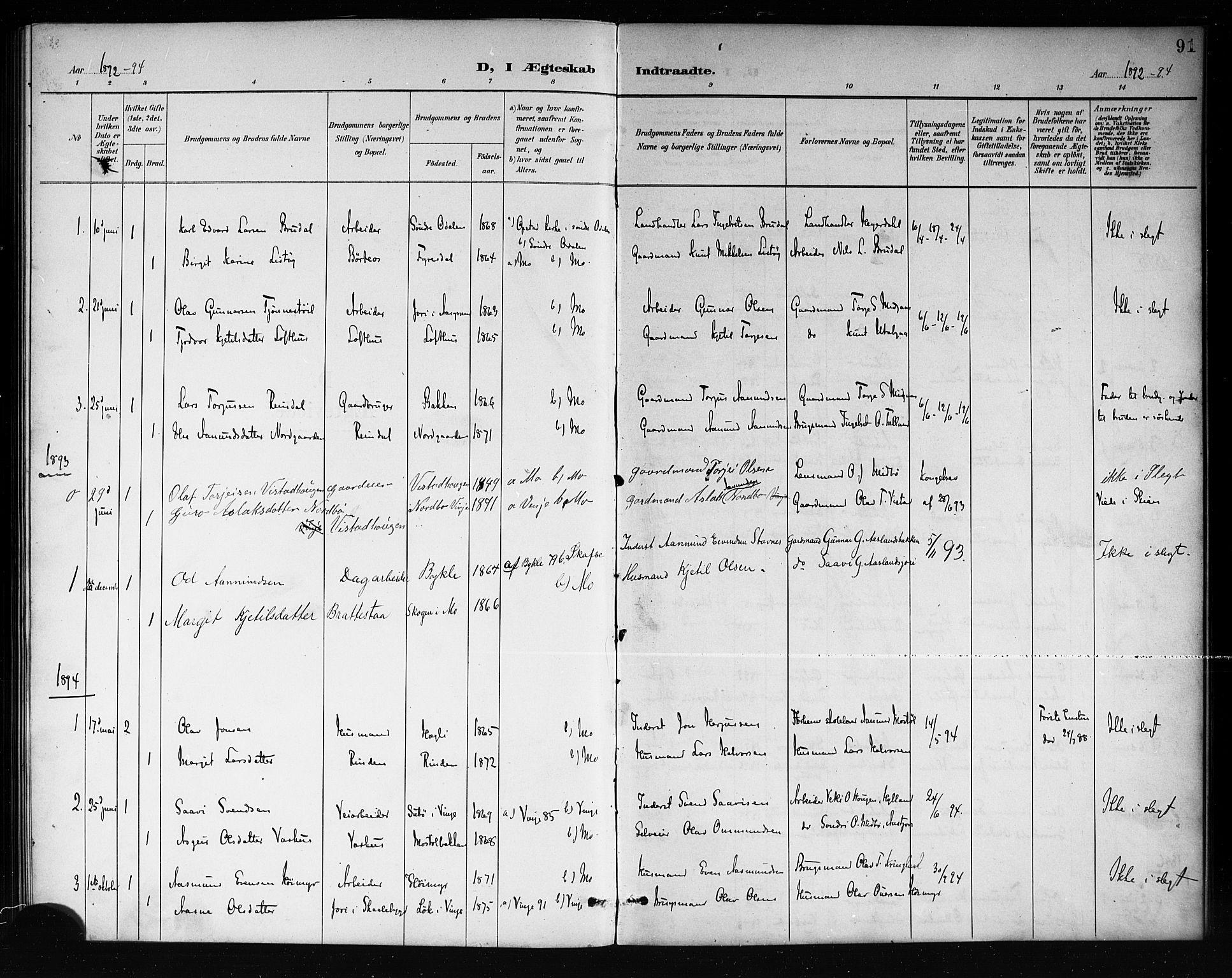 SAKO, Mo kirkebøker, G/Ga/L0002: Klokkerbok nr. I 2, 1892-1914, s. 91