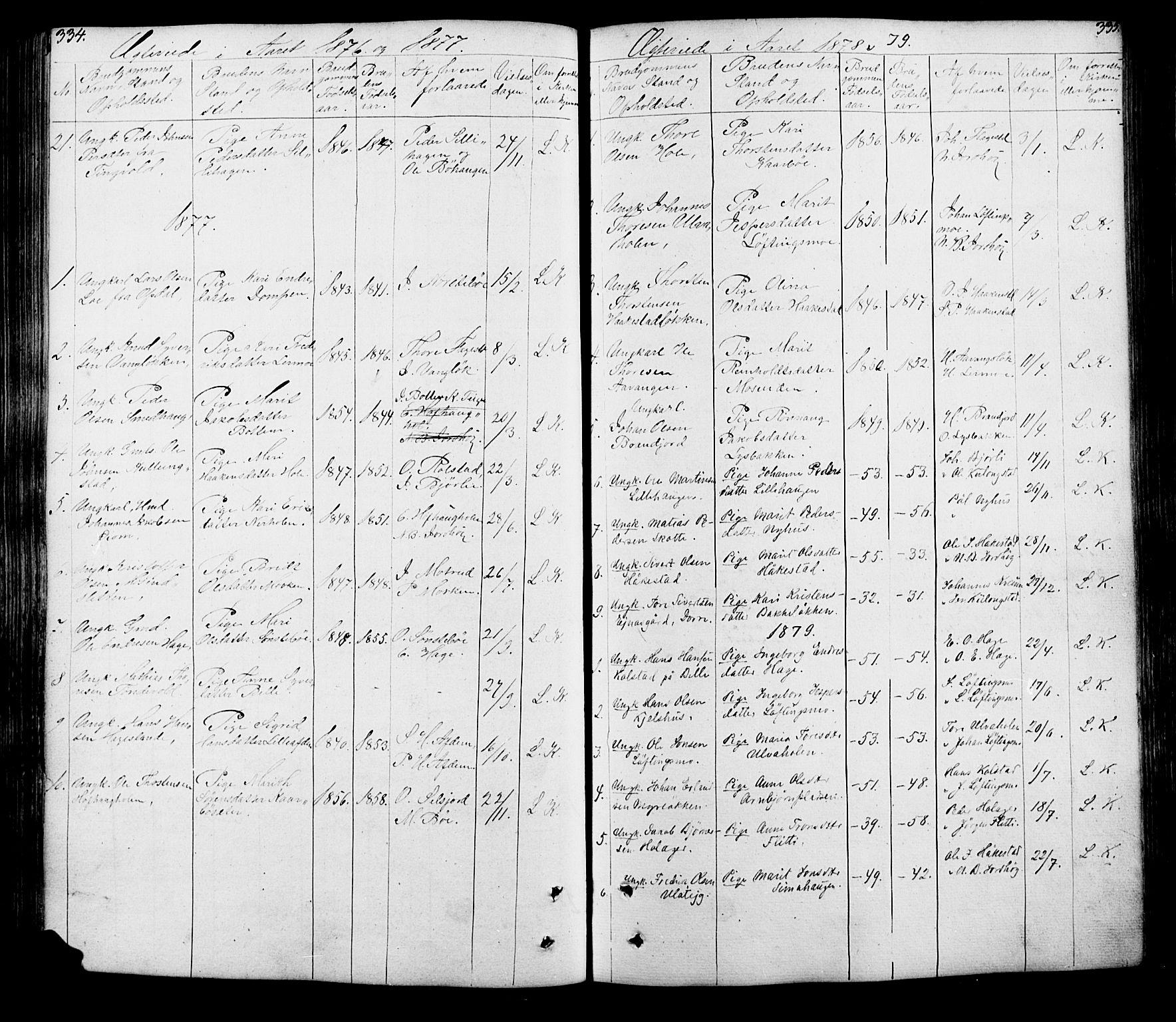 SAH, Lesja prestekontor, Klokkerbok nr. 5, 1850-1894, s. 334-335
