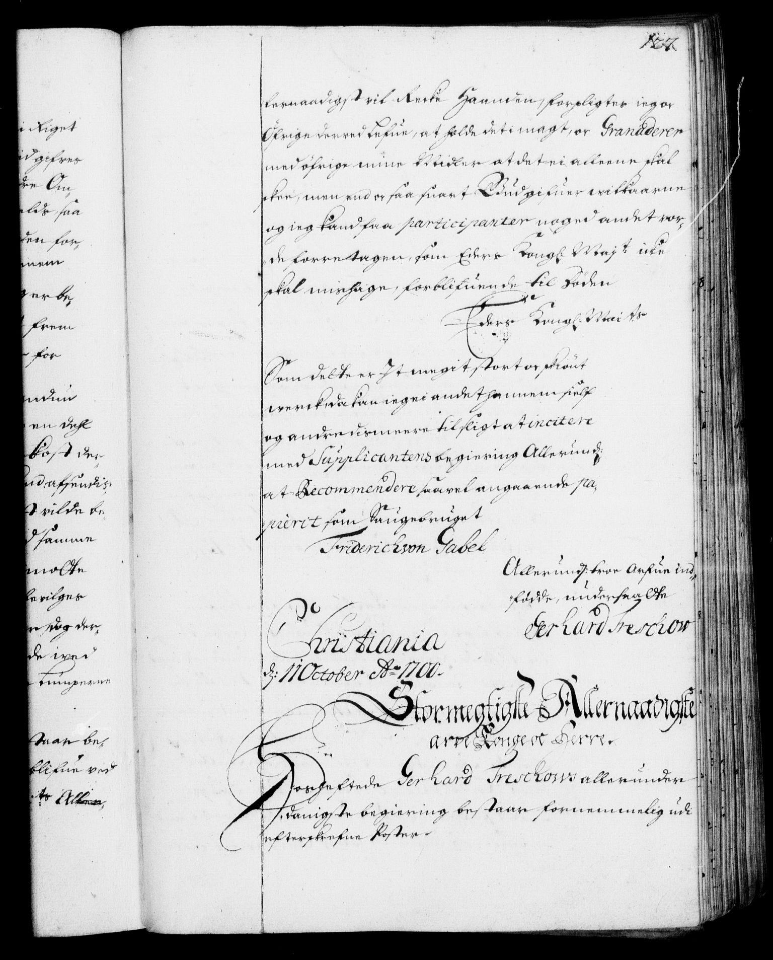 RA, Rentekammeret, Kammerkanselliet, G/Gf/Gfa/L0001: Resolusjonsprotokoll med register (merket RK 52.1), 1695-1706, s. 127