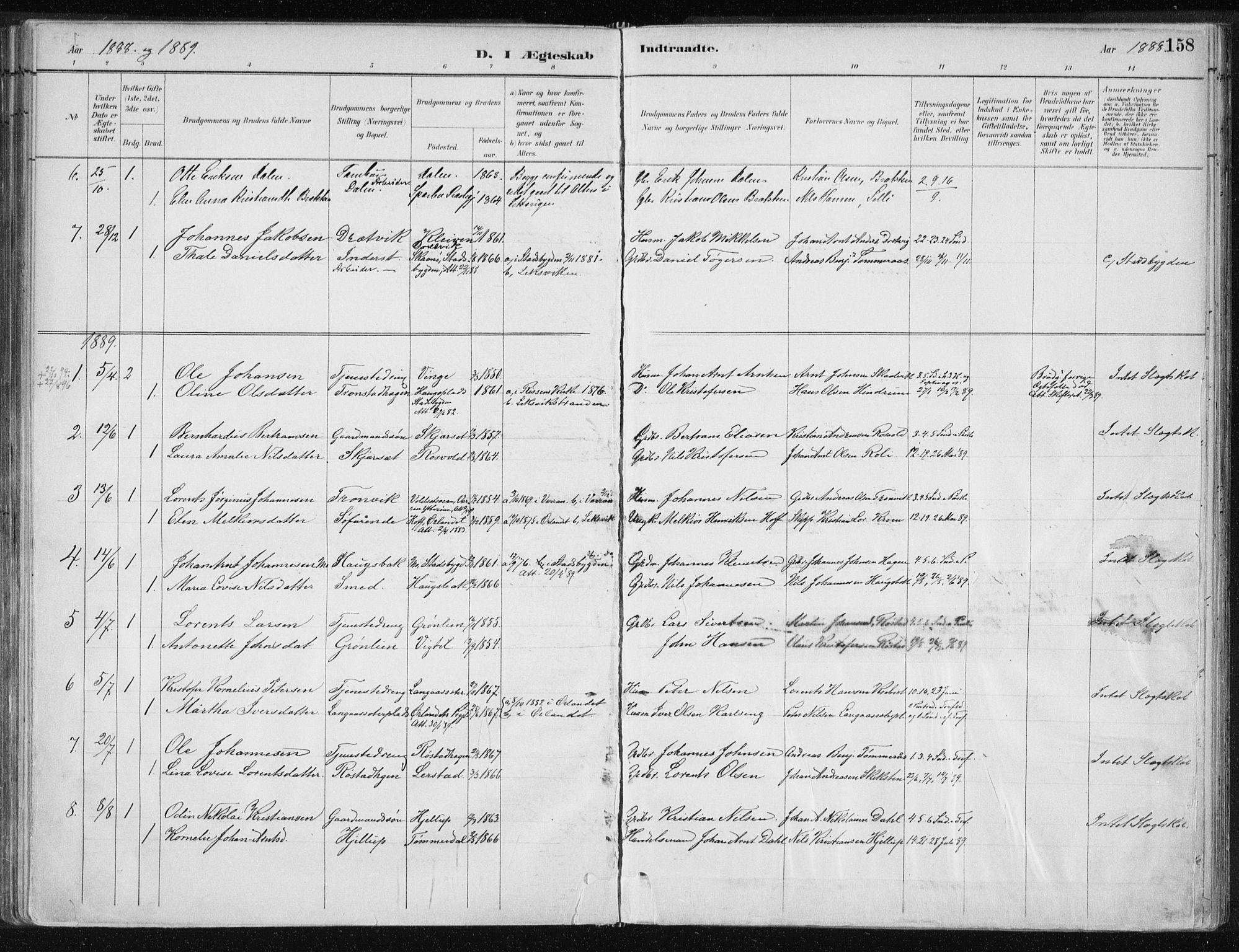 SAT, Ministerialprotokoller, klokkerbøker og fødselsregistre - Nord-Trøndelag, 701/L0010: Ministerialbok nr. 701A10, 1883-1899, s. 158