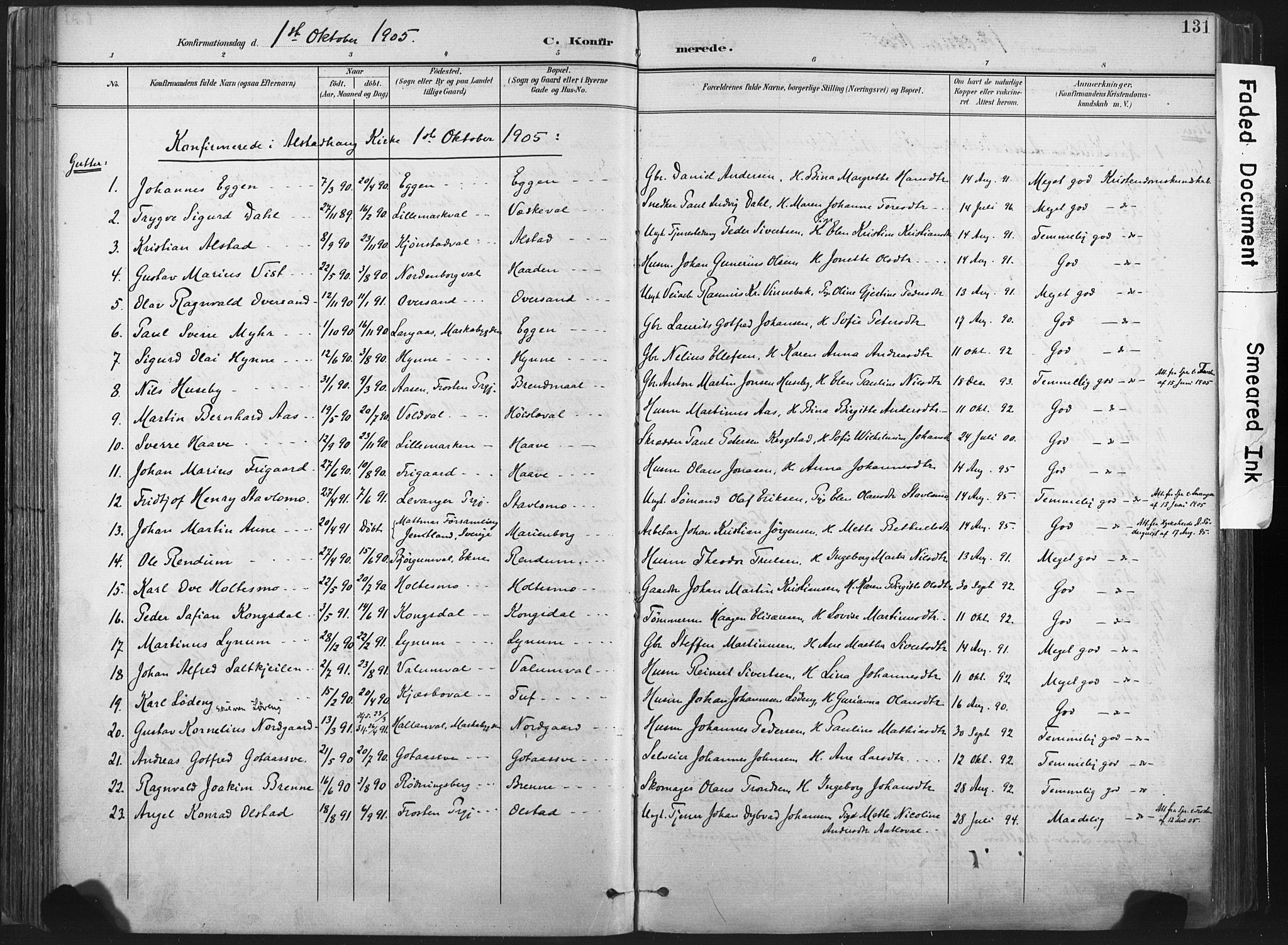 SAT, Ministerialprotokoller, klokkerbøker og fødselsregistre - Nord-Trøndelag, 717/L0162: Ministerialbok nr. 717A12, 1898-1923, s. 131