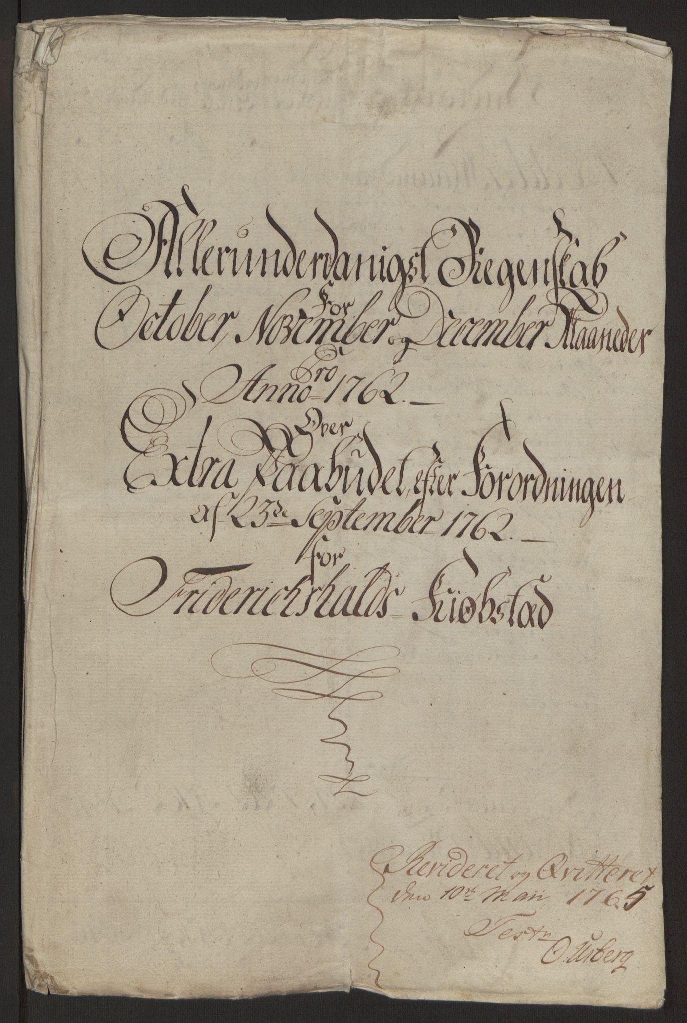 RA, Rentekammeret inntil 1814, Reviderte regnskaper, Byregnskaper, R/Ra/L0006: [A4] Kontribusjonsregnskap, 1762-1772, s. 4