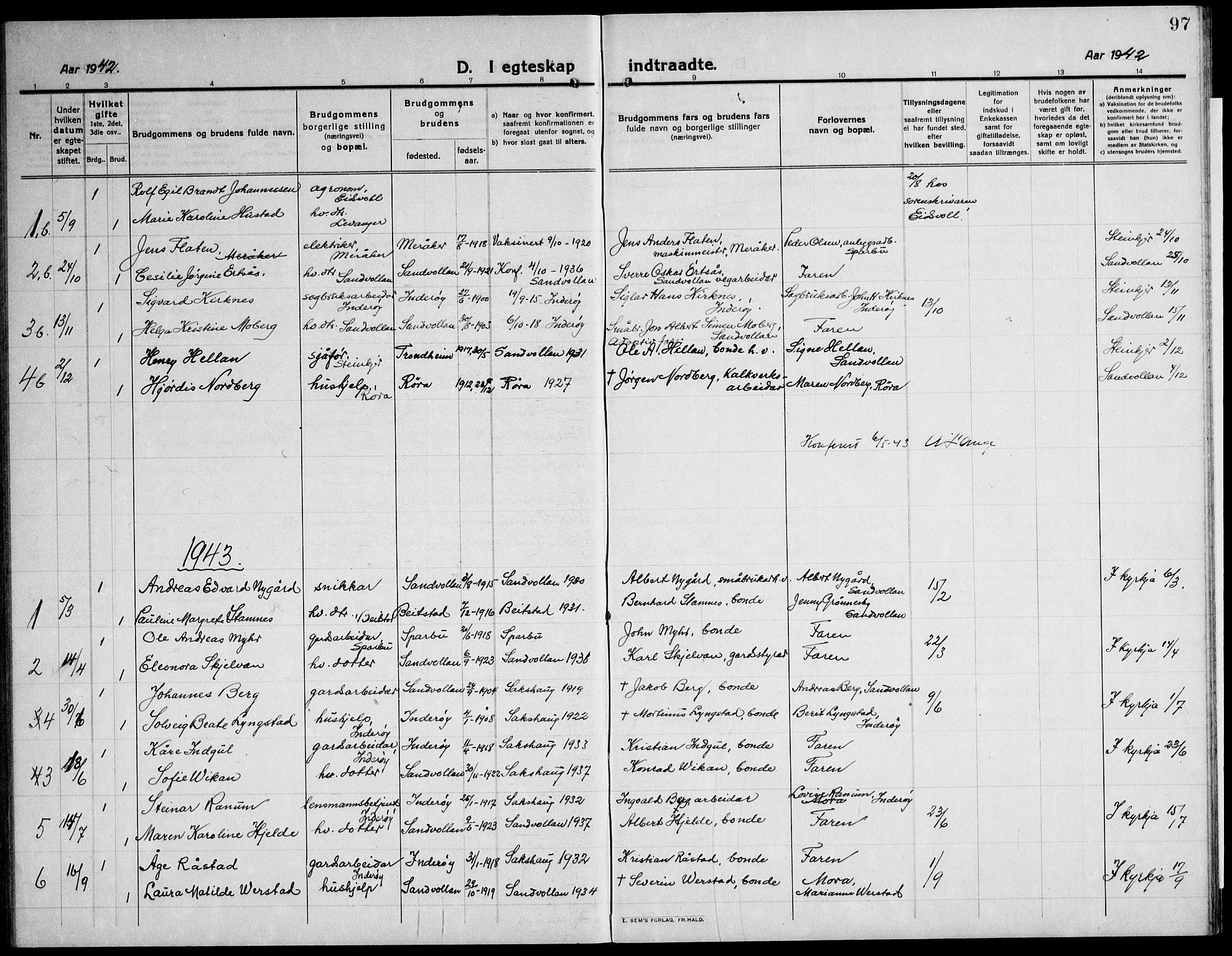 SAT, Ministerialprotokoller, klokkerbøker og fødselsregistre - Nord-Trøndelag, 732/L0319: Klokkerbok nr. 732C03, 1911-1945, s. 97