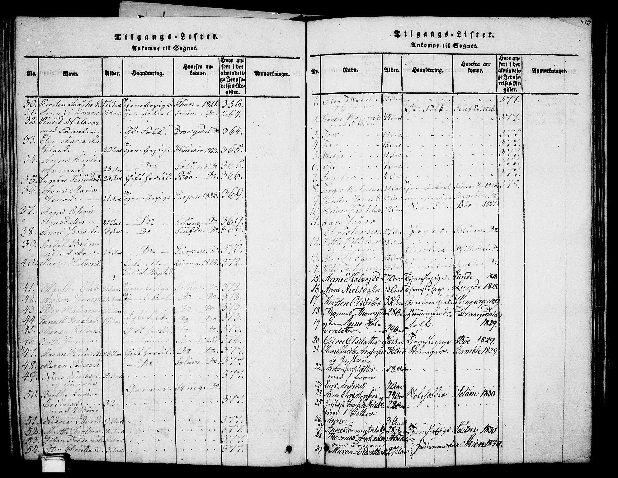 SAKO, Holla kirkebøker, G/Ga/L0001: Klokkerbok nr. I 1, 1814-1830, s. 313