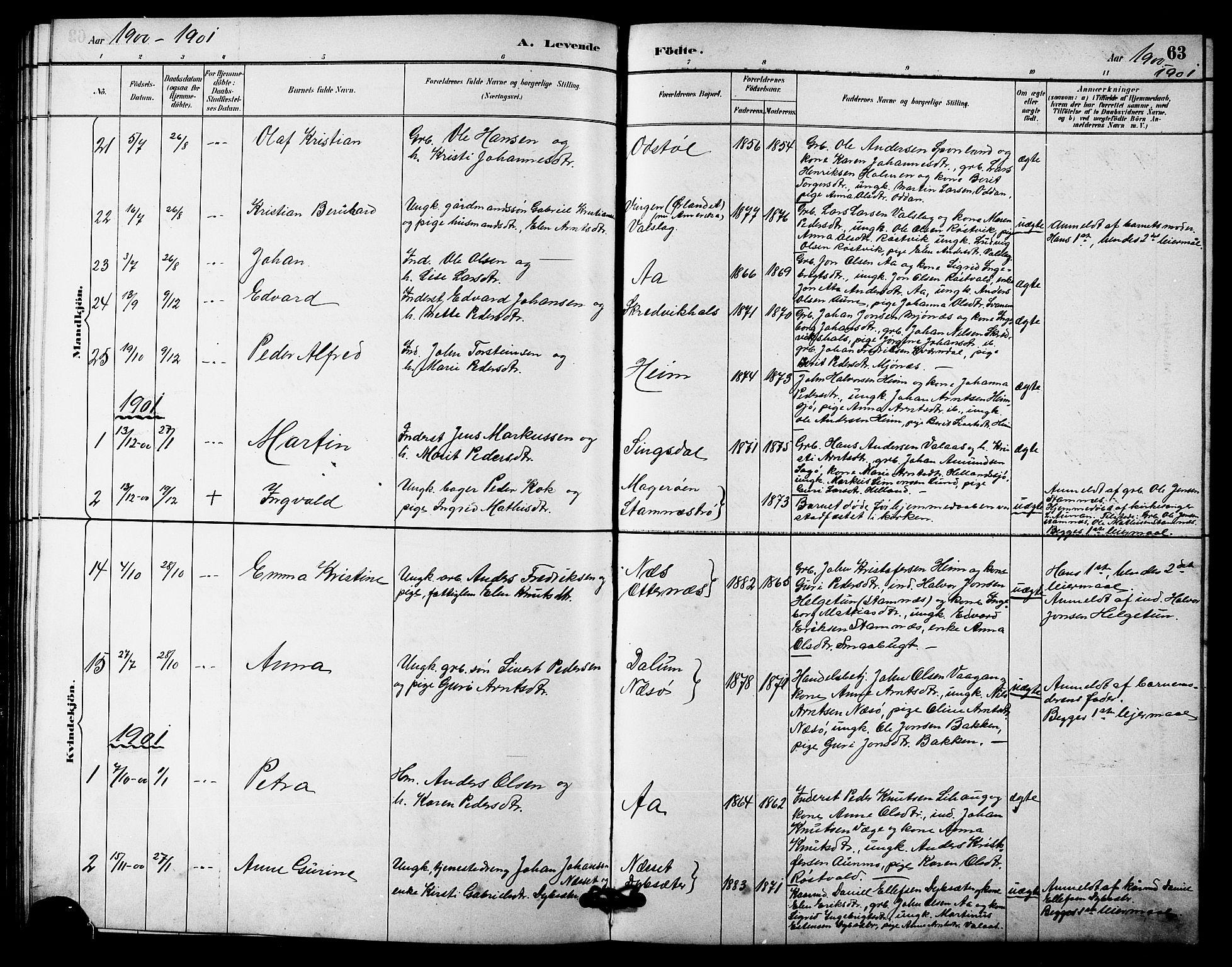 SAT, Ministerialprotokoller, klokkerbøker og fødselsregistre - Sør-Trøndelag, 633/L0519: Klokkerbok nr. 633C01, 1884-1905, s. 63