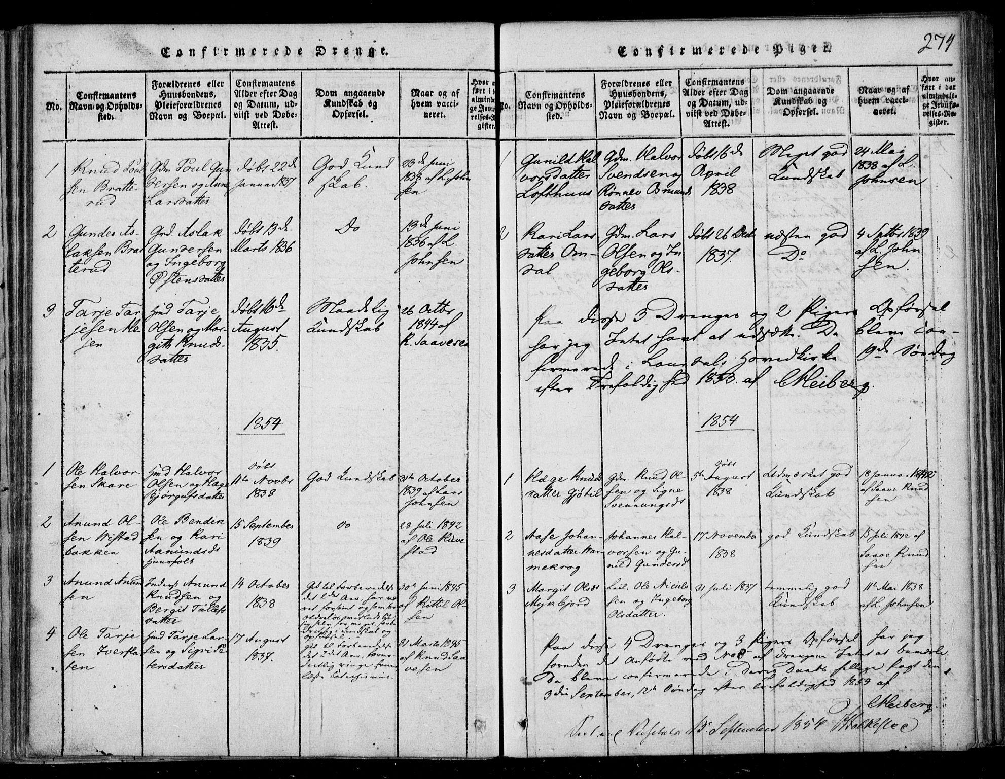 SAKO, Lårdal kirkebøker, F/Fb/L0001: Ministerialbok nr. II 1, 1815-1860, s. 274