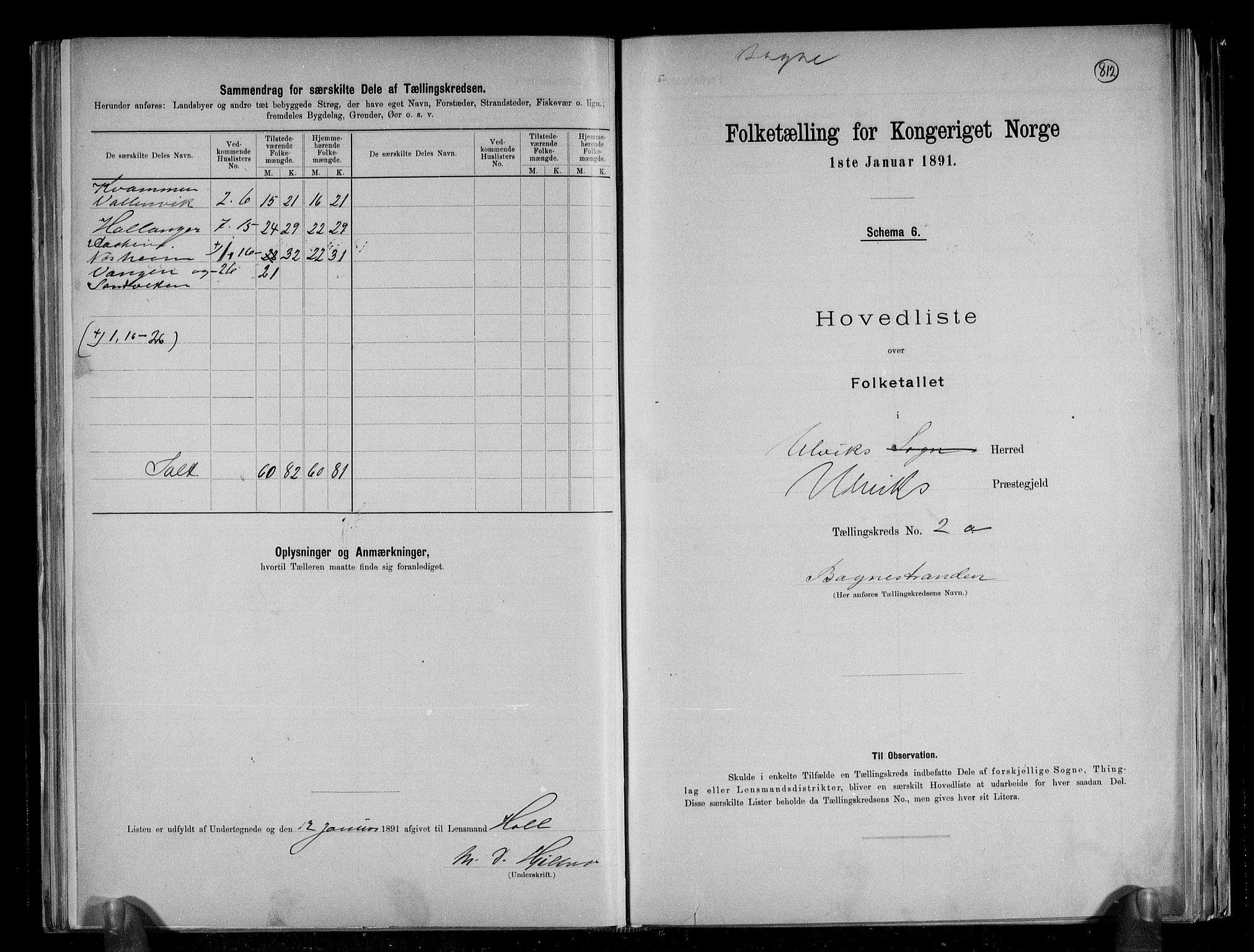 RA, Folketelling 1891 for 1233 Ulvik herred, 1891, s. 7