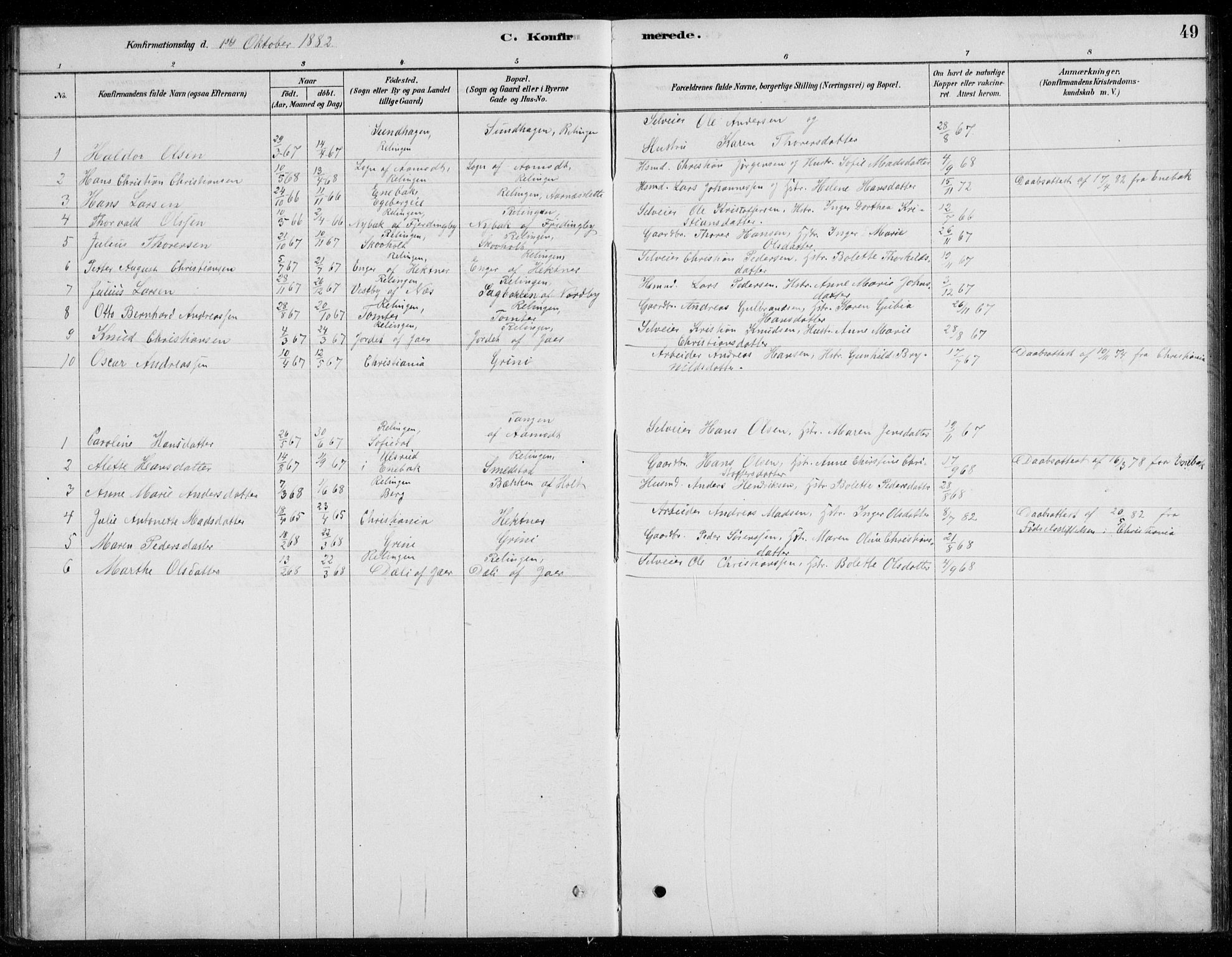 SAO, Fet prestekontor Kirkebøker, G/Gb/L0002: Klokkerbok nr. II 2, 1878-1911, s. 49
