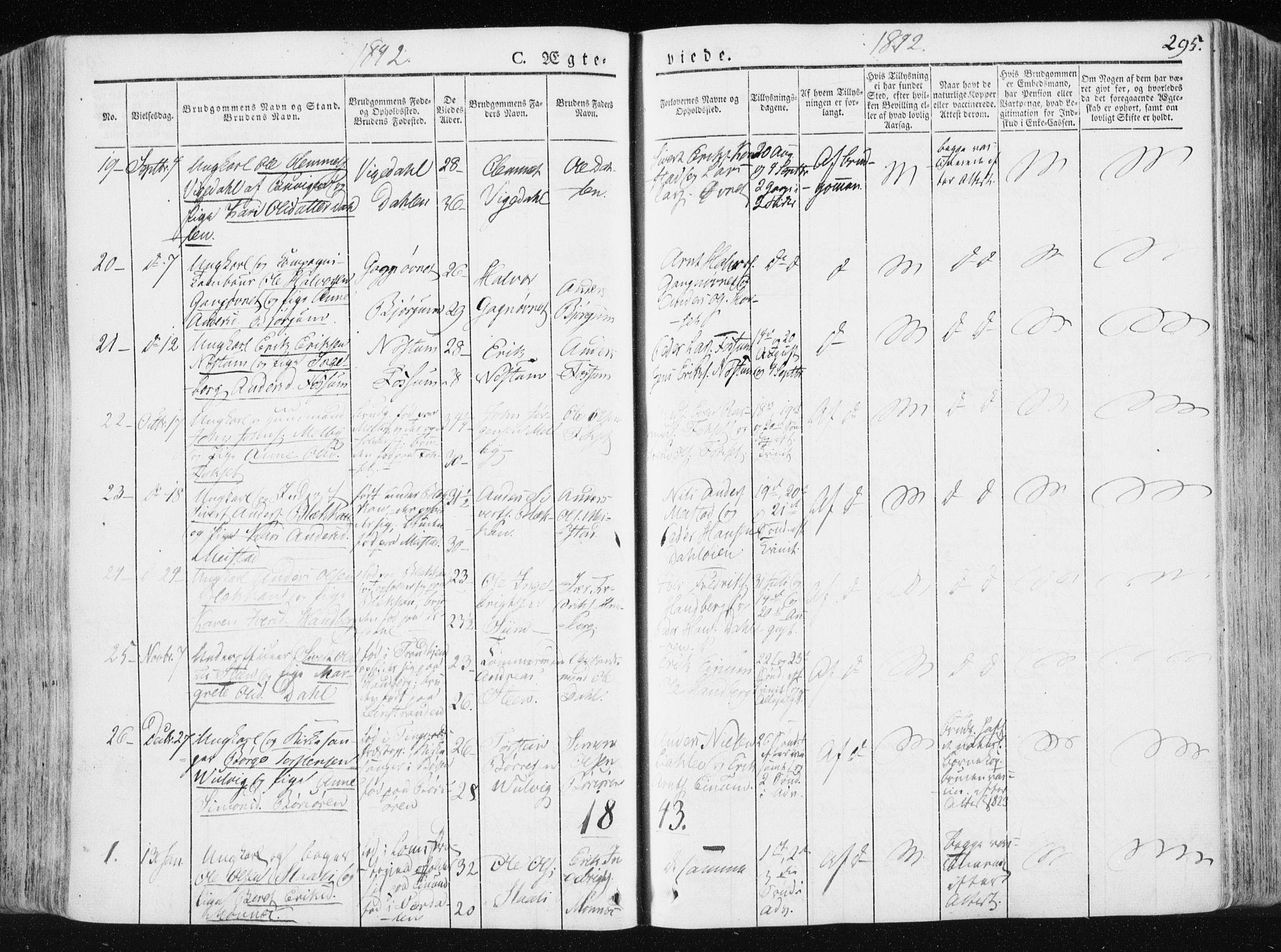SAT, Ministerialprotokoller, klokkerbøker og fødselsregistre - Sør-Trøndelag, 665/L0771: Ministerialbok nr. 665A06, 1830-1856, s. 295