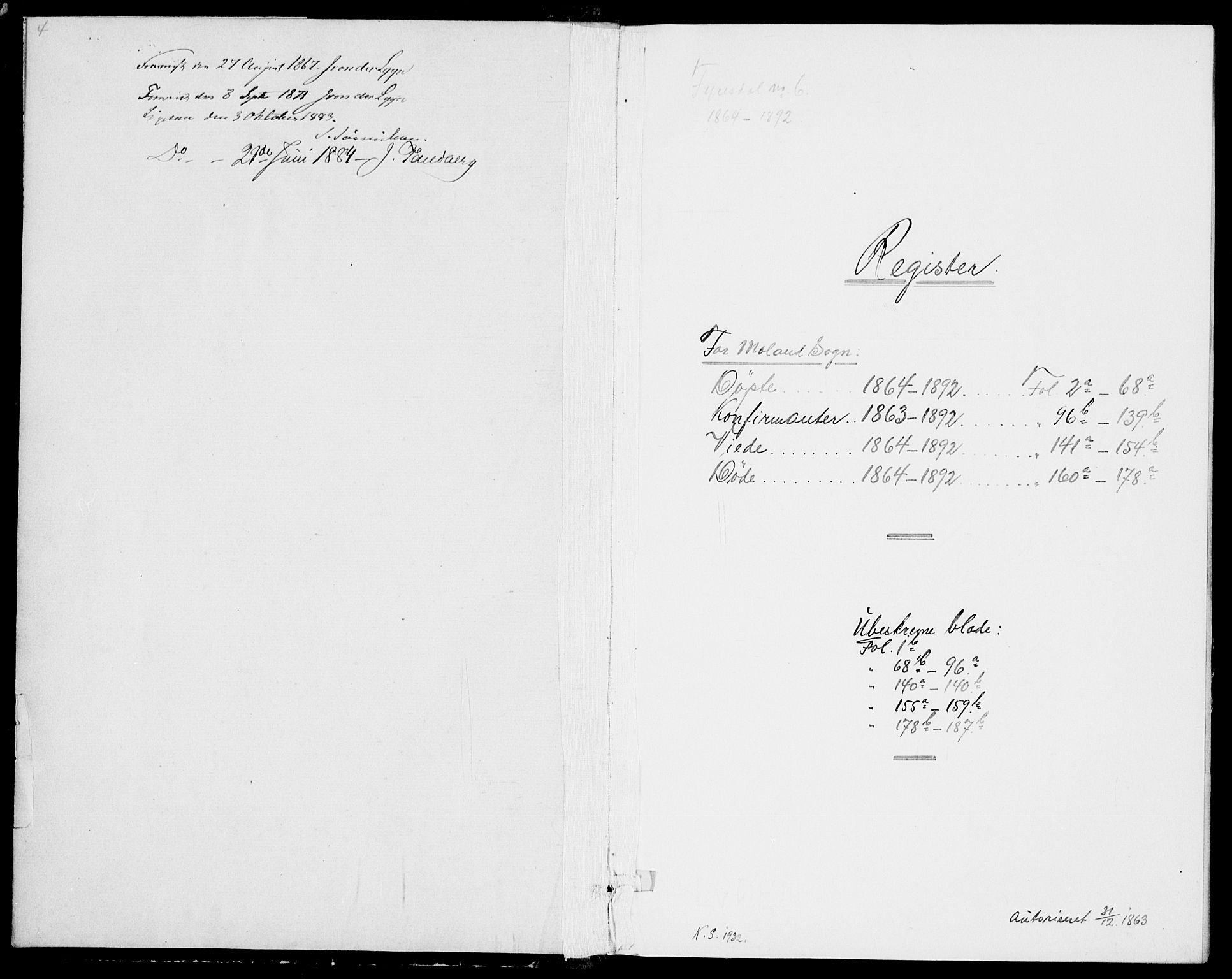 SAKO, Fyresdal kirkebøker, G/Ga/L0004: Klokkerbok nr. I 4, 1864-1892