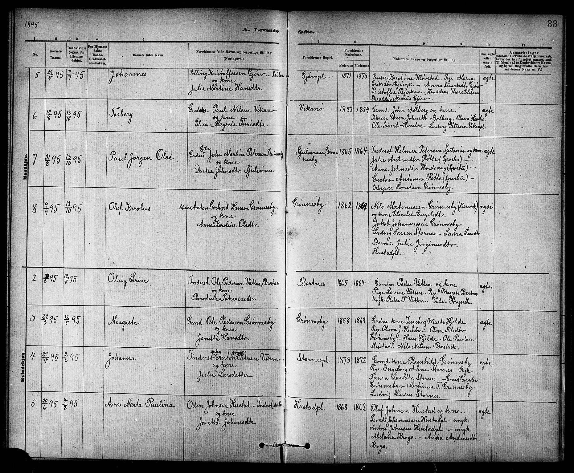 SAT, Ministerialprotokoller, klokkerbøker og fødselsregistre - Nord-Trøndelag, 732/L0318: Klokkerbok nr. 732C02, 1881-1911, s. 33