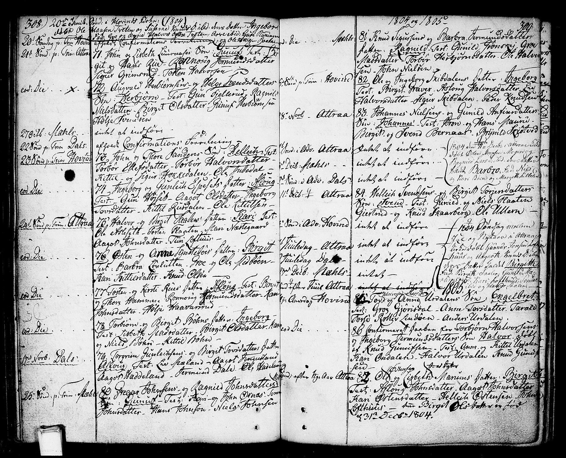 SAKO, Tinn kirkebøker, F/Fa/L0002: Ministerialbok nr. I 2, 1757-1810, s. 308-309