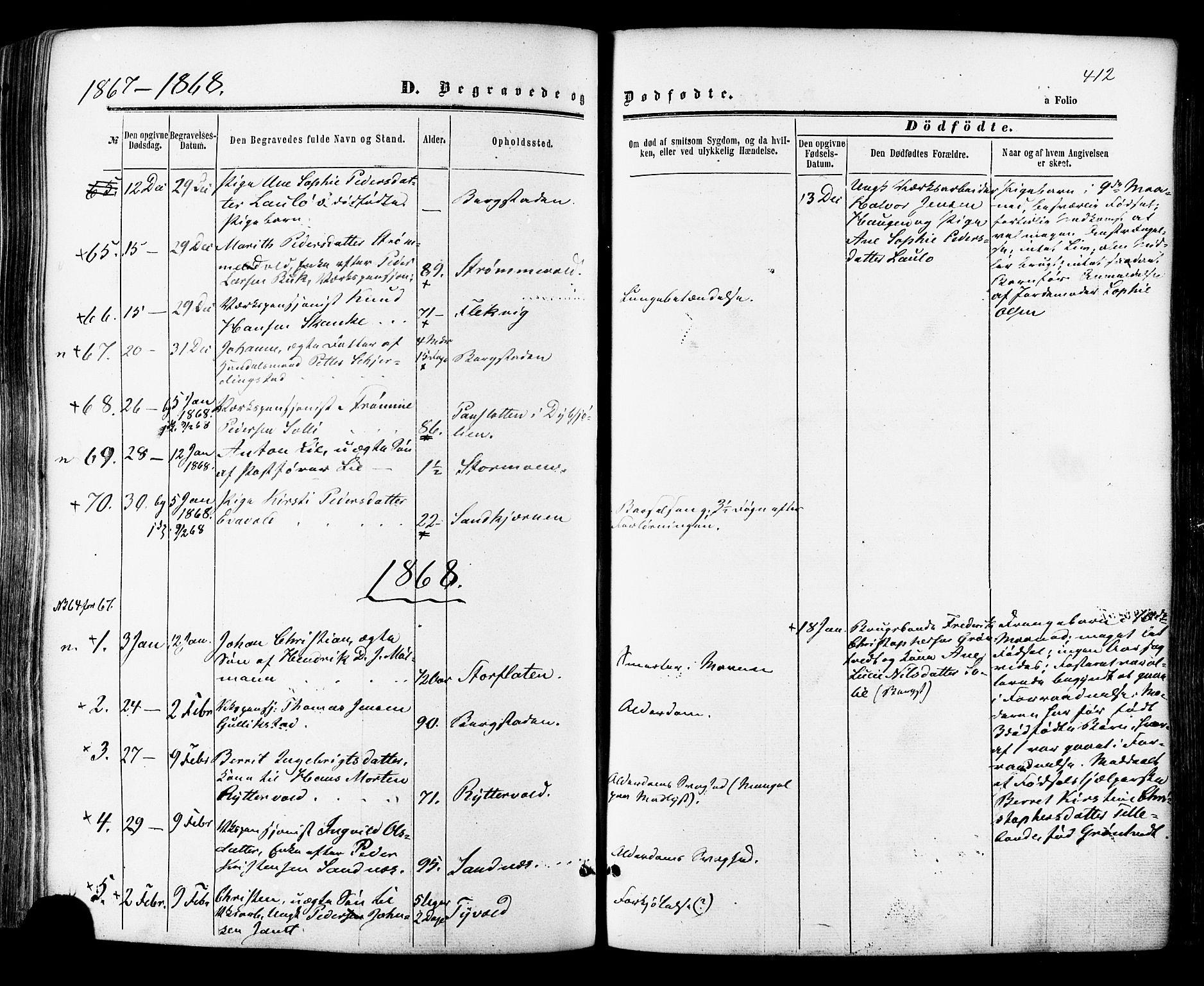 SAT, Ministerialprotokoller, klokkerbøker og fødselsregistre - Sør-Trøndelag, 681/L0932: Ministerialbok nr. 681A10, 1860-1878, s. 412