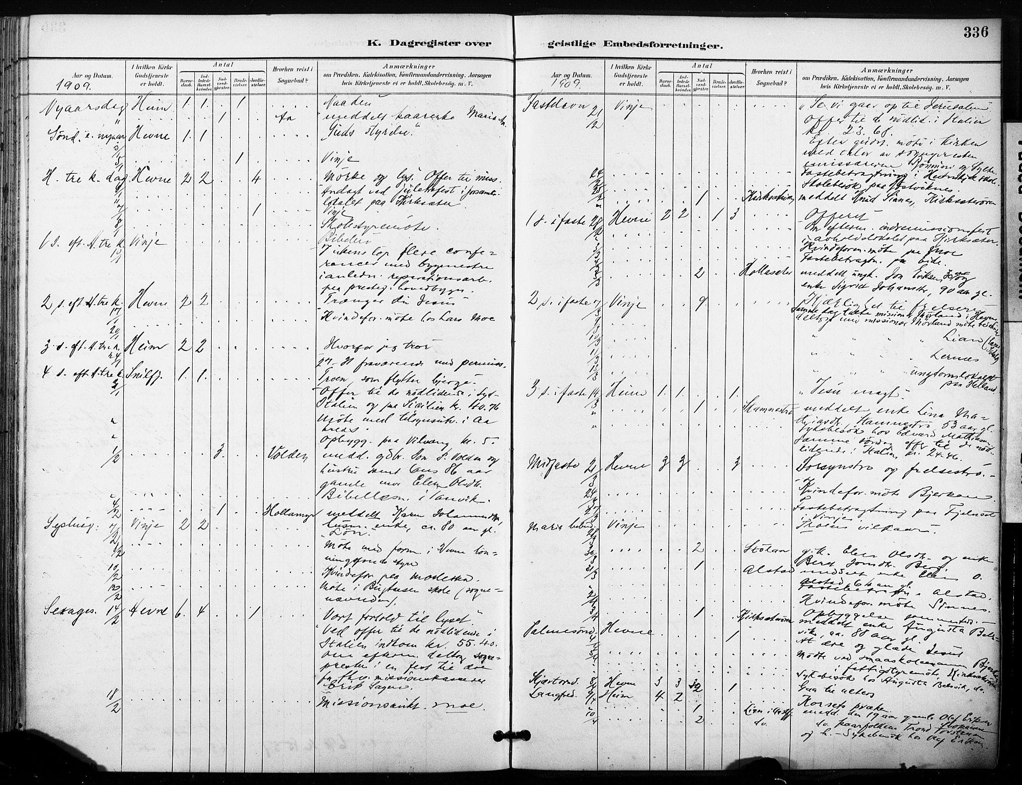SAT, Ministerialprotokoller, klokkerbøker og fødselsregistre - Sør-Trøndelag, 630/L0497: Ministerialbok nr. 630A10, 1896-1910, s. 336