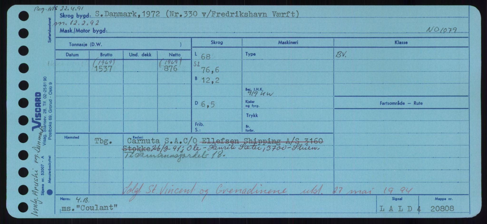 RA, Sjøfartsdirektoratet med forløpere, Skipsmålingen, H/Hd/L0008: Fartøy, C-D, s. 245