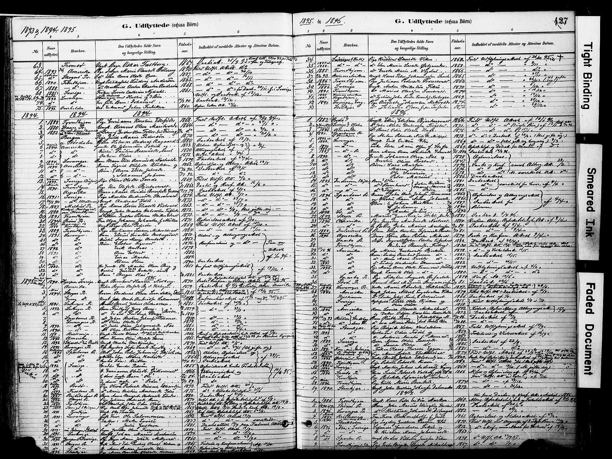 SAT, Ministerialprotokoller, klokkerbøker og fødselsregistre - Nord-Trøndelag, 723/L0244: Ministerialbok nr. 723A13, 1881-1899, s. 427
