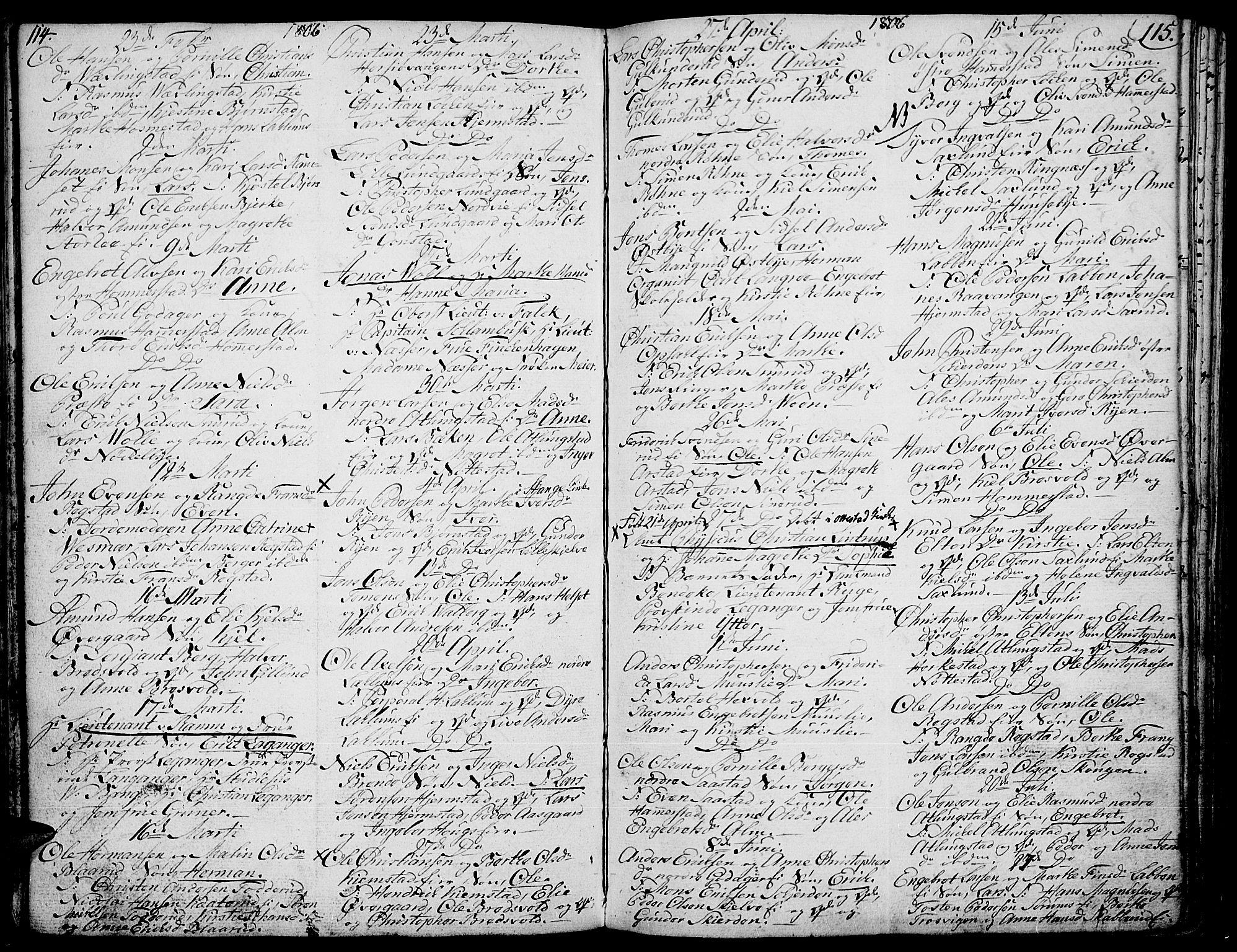 SAH, Stange prestekontor, K/L0007: Ministerialbok nr. 7, 1788-1813, s. 114-115