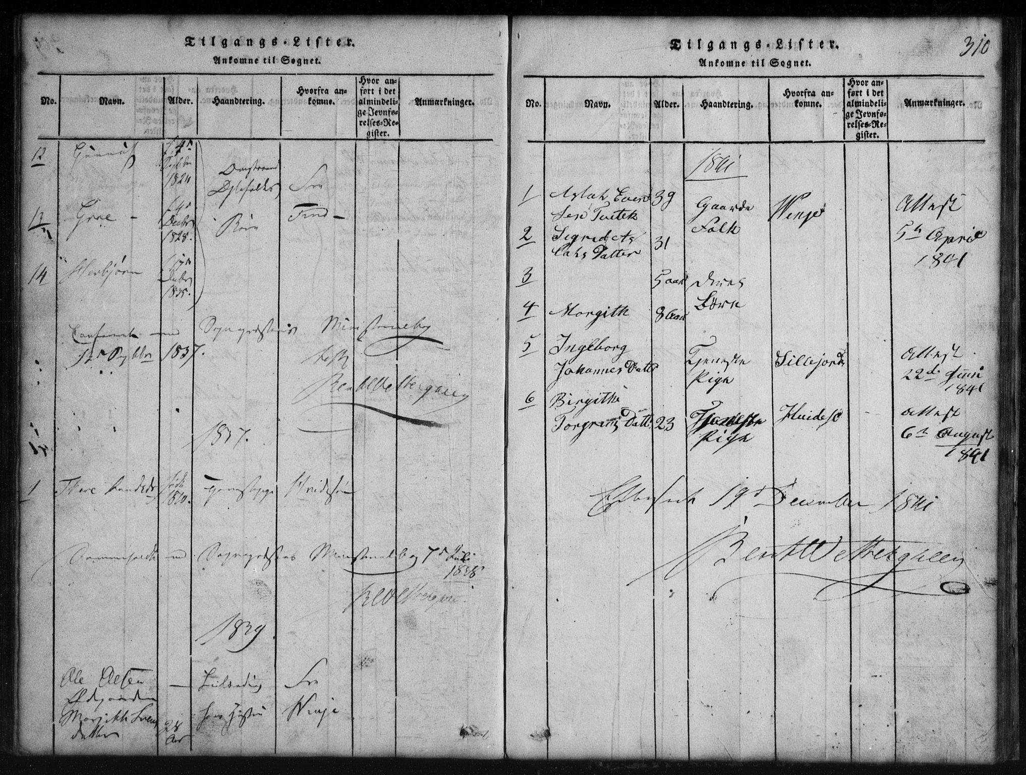 SAKO, Rauland kirkebøker, G/Gb/L0001: Klokkerbok nr. II 1, 1815-1886, s. 310