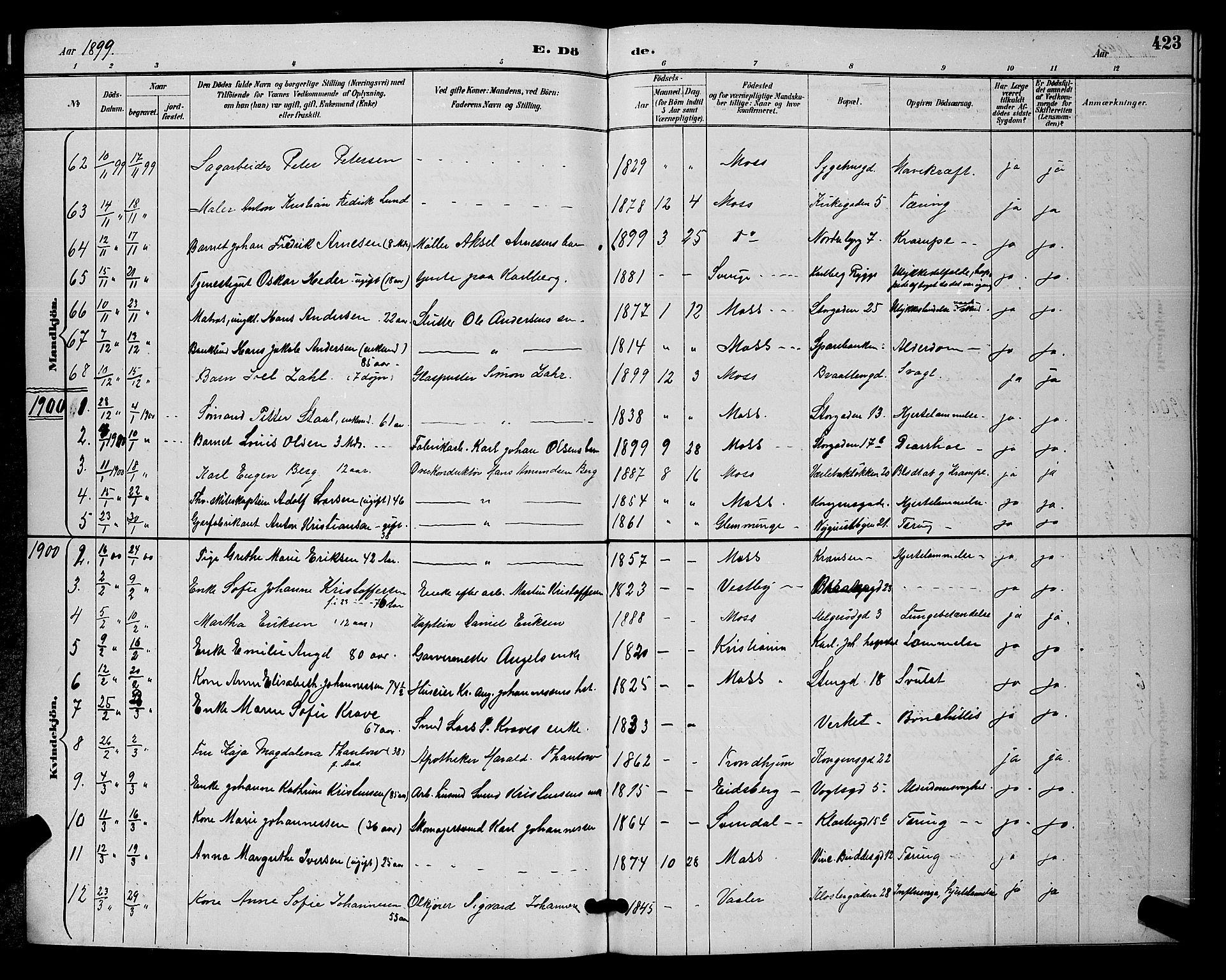 SAO, Moss prestekontor Kirkebøker, G/Ga/L0006: Klokkerbok nr. I 6, 1889-1900, s. 423