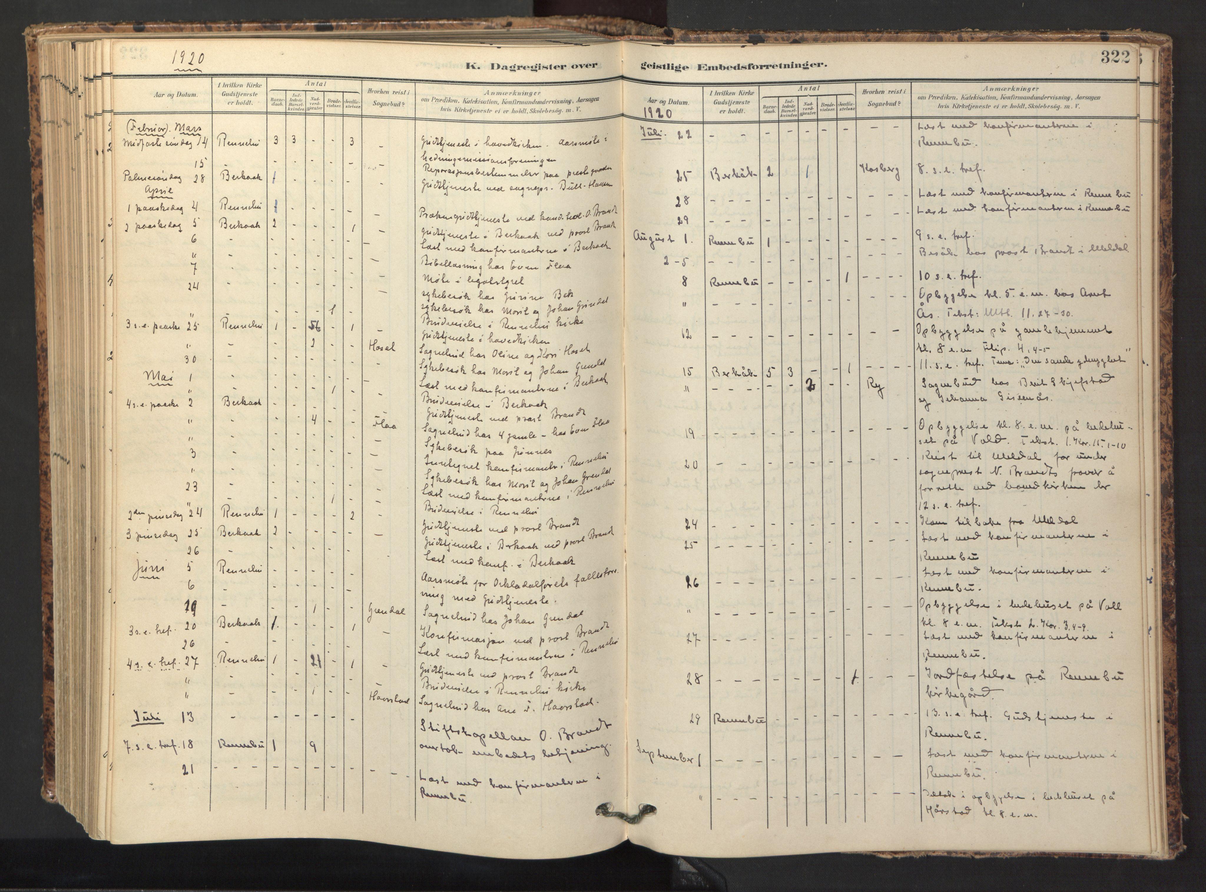SAT, Ministerialprotokoller, klokkerbøker og fødselsregistre - Sør-Trøndelag, 674/L0873: Ministerialbok nr. 674A05, 1908-1923, s. 322