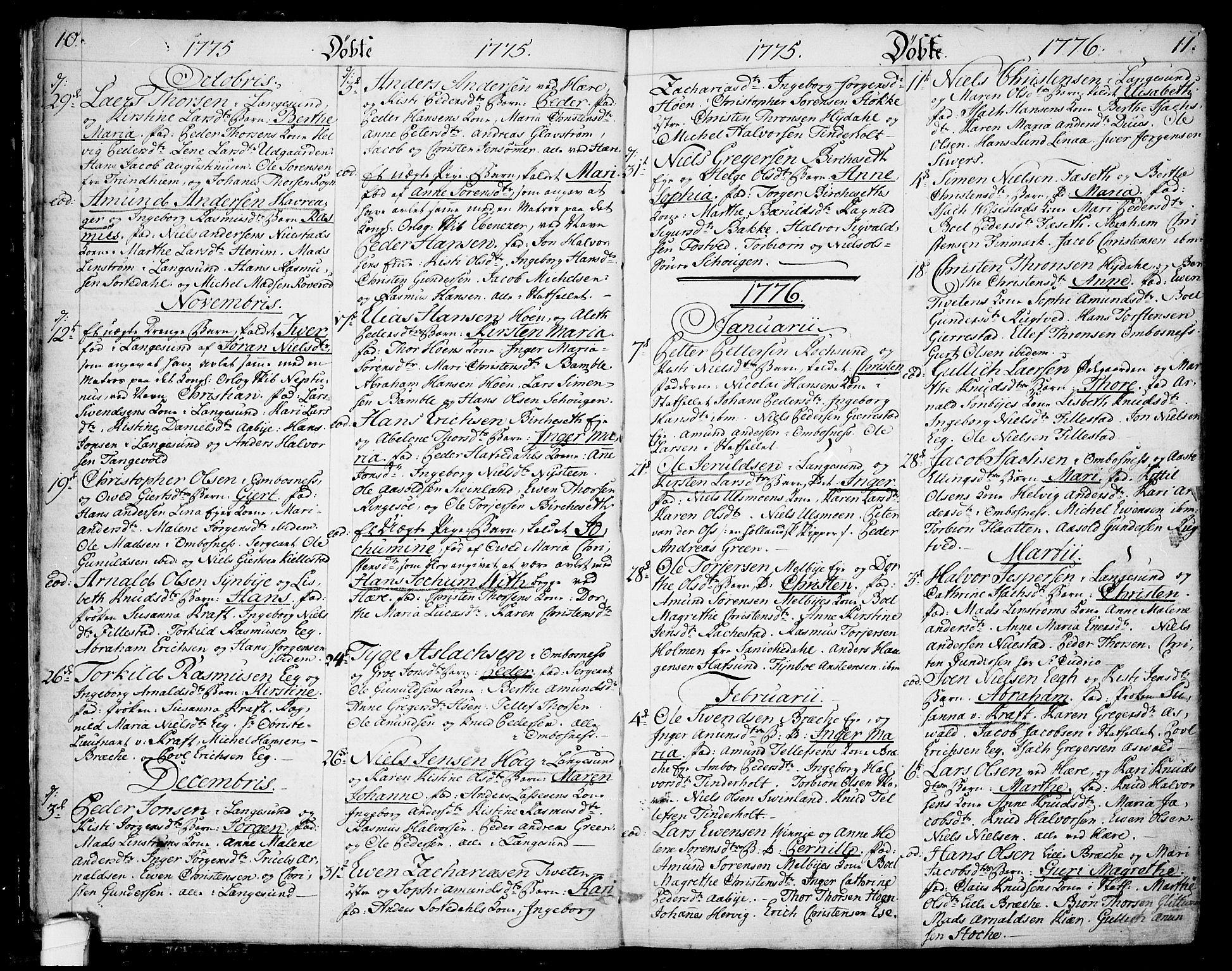 SAKO, Bamble kirkebøker, F/Fa/L0002: Ministerialbok nr. I 2, 1775-1814, s. 10-11