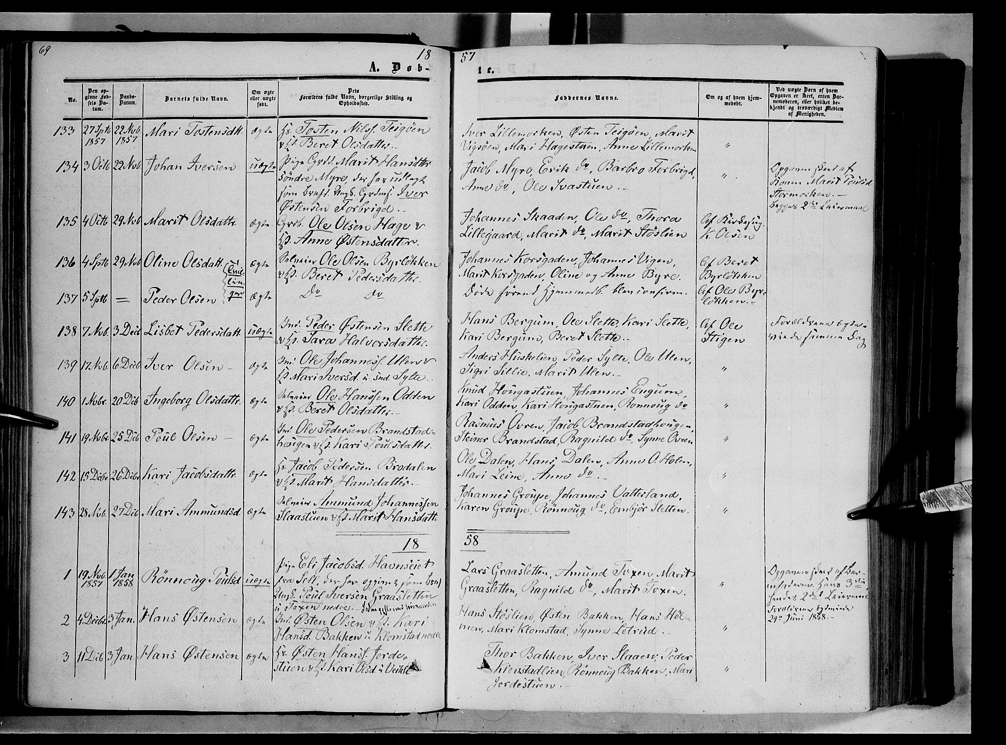 SAH, Nord-Fron prestekontor, Ministerialbok nr. 1, 1851-1864, s. 69
