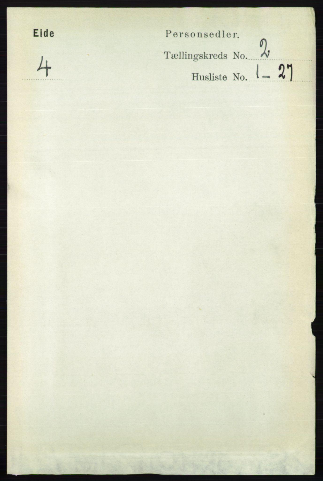 RA, Folketelling 1891 for 0925 Eide herred, 1891, s. 343