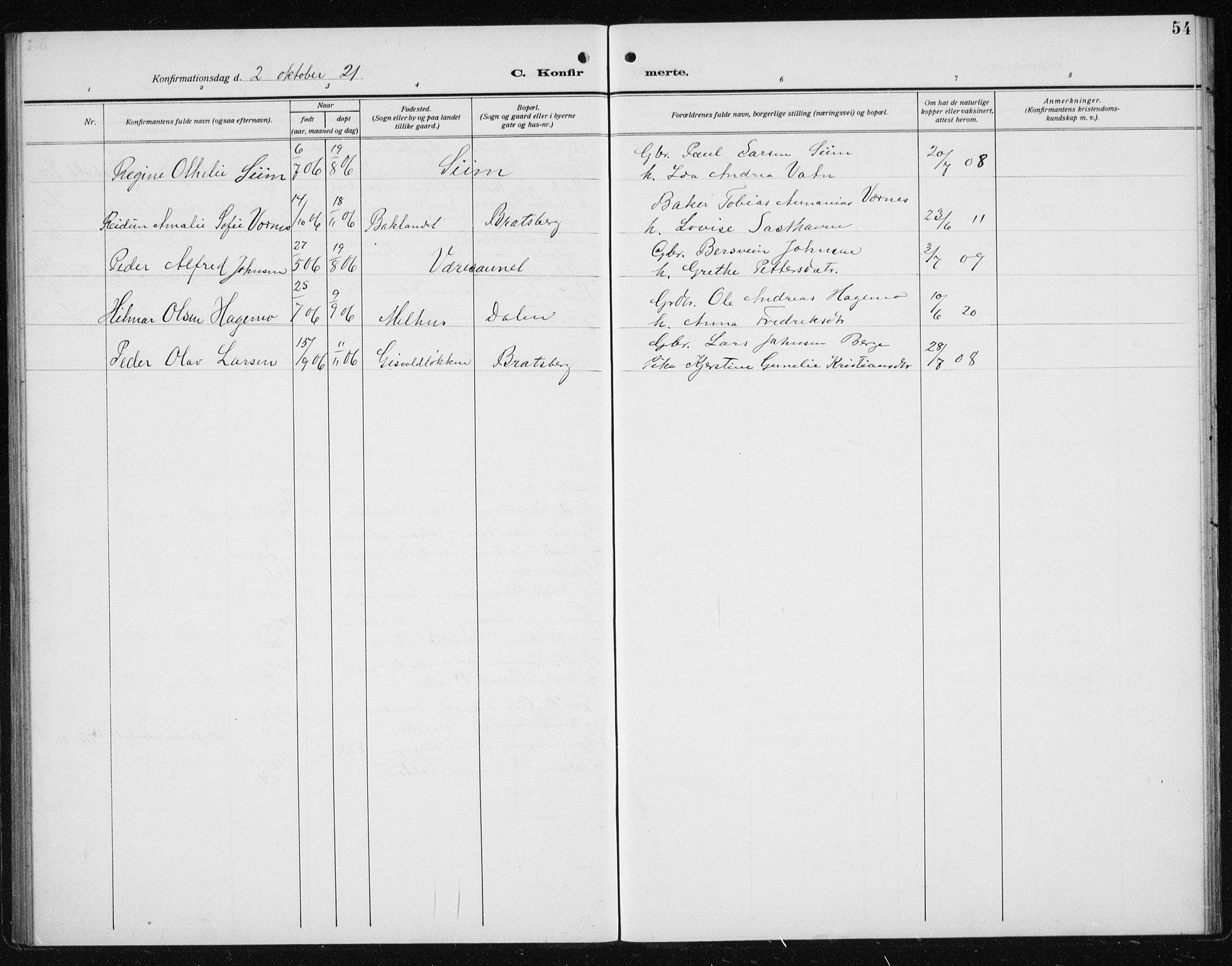 SAT, Ministerialprotokoller, klokkerbøker og fødselsregistre - Sør-Trøndelag, 608/L0342: Klokkerbok nr. 608C08, 1912-1938, s. 54