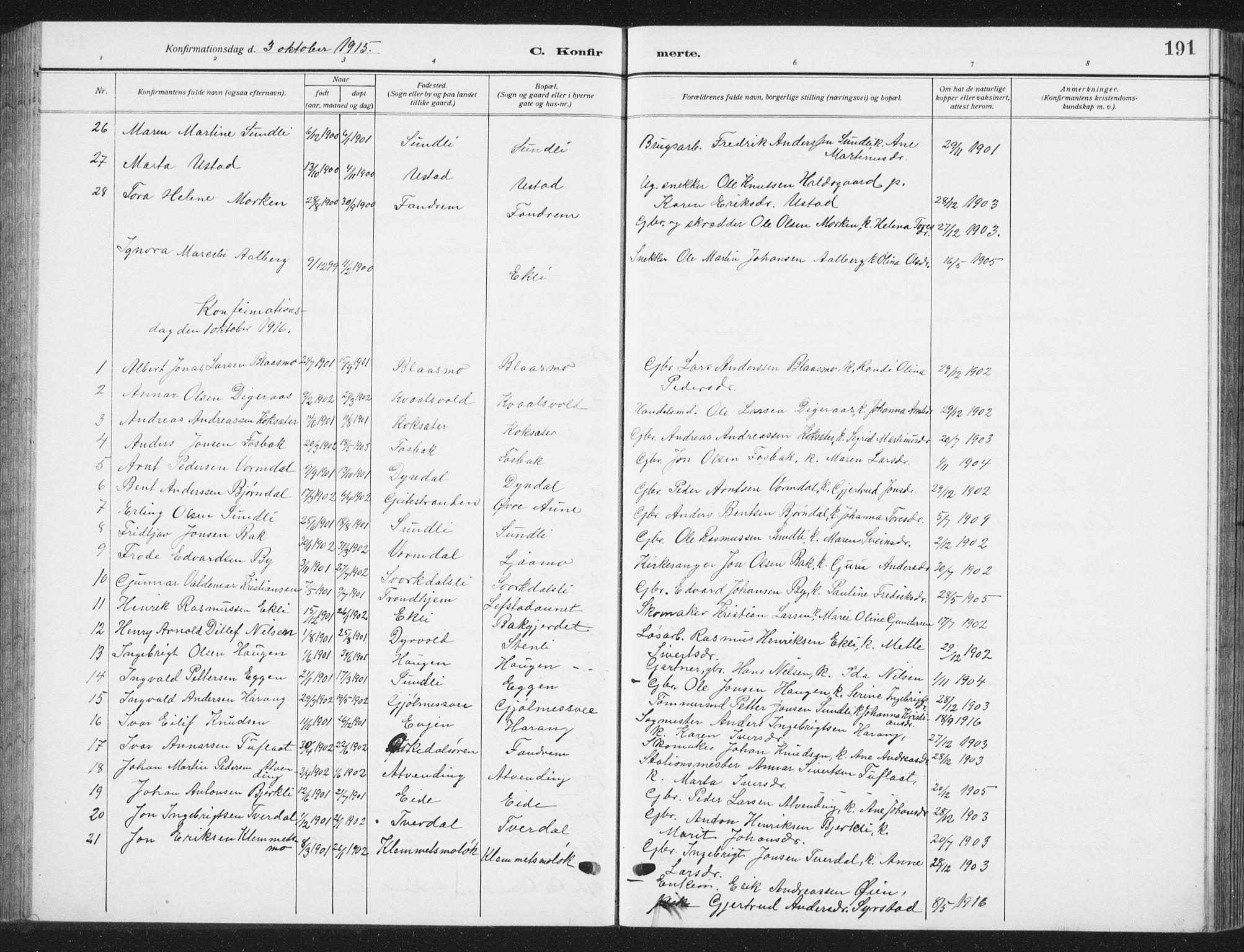 SAT, Ministerialprotokoller, klokkerbøker og fødselsregistre - Sør-Trøndelag, 668/L0820: Klokkerbok nr. 668C09, 1912-1936, s. 191