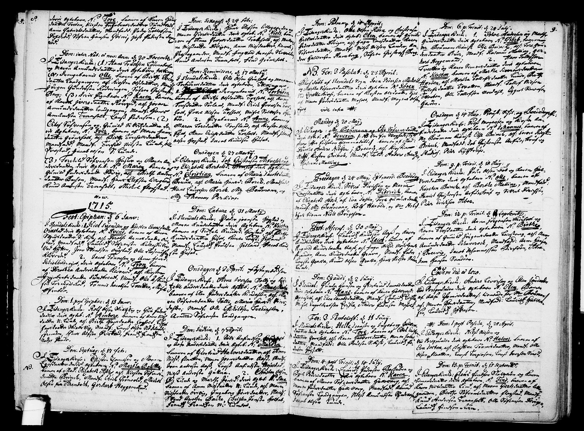 SAKO, Eidanger kirkebøker, F/Fa/L0002: Ministerialbok nr. 2, 1712-1720, s. 8-9