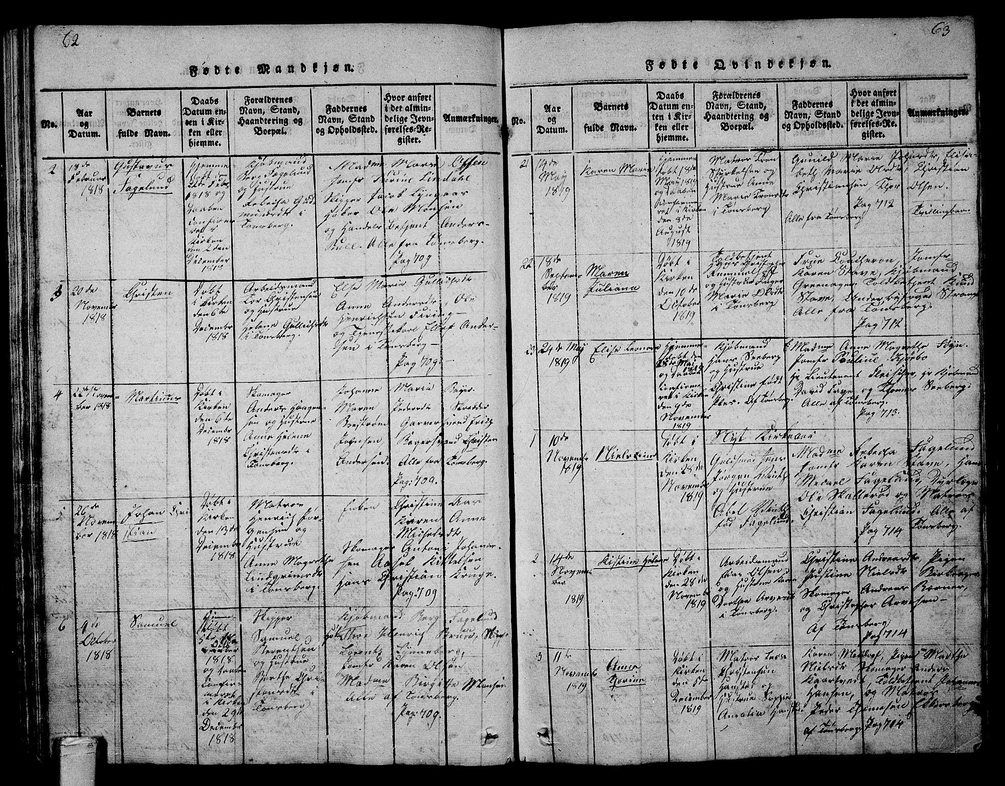 SAKO, Tønsberg kirkebøker, G/Ga/L0001: Klokkerbok nr. 1, 1813-1826, s. 62-63