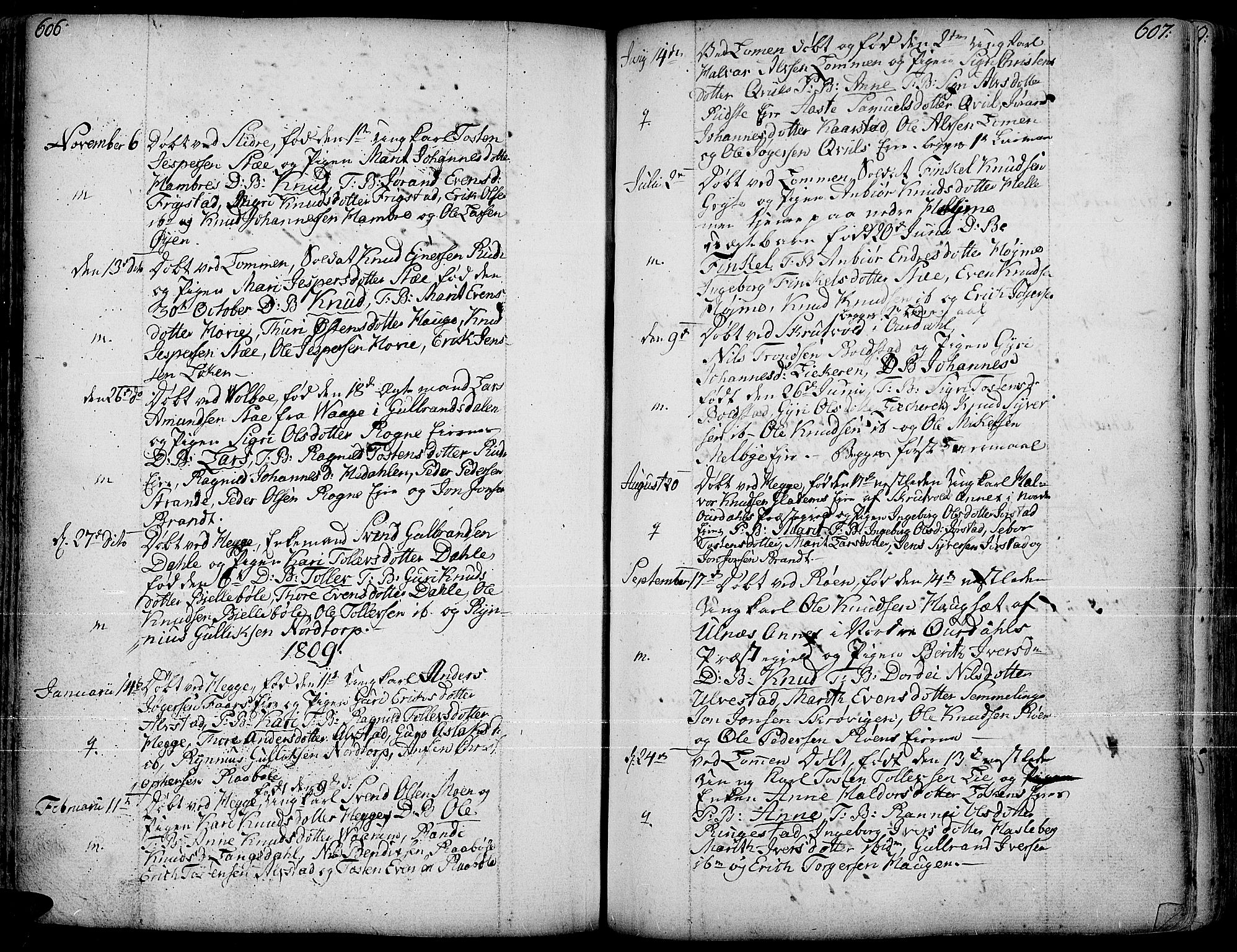 SAH, Slidre prestekontor, Ministerialbok nr. 1, 1724-1814, s. 606-607