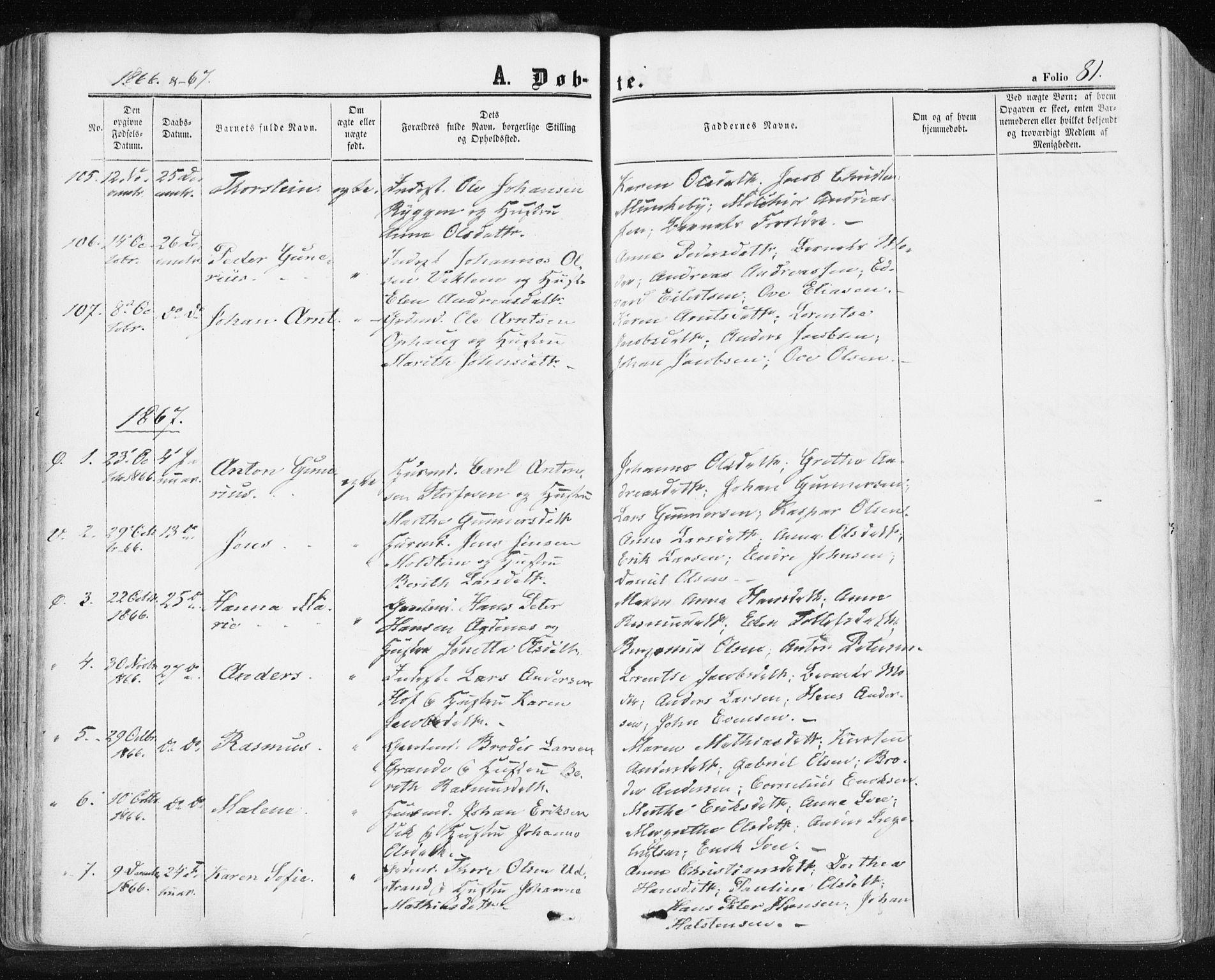 SAT, Ministerialprotokoller, klokkerbøker og fødselsregistre - Sør-Trøndelag, 659/L0737: Ministerialbok nr. 659A07, 1857-1875, s. 81
