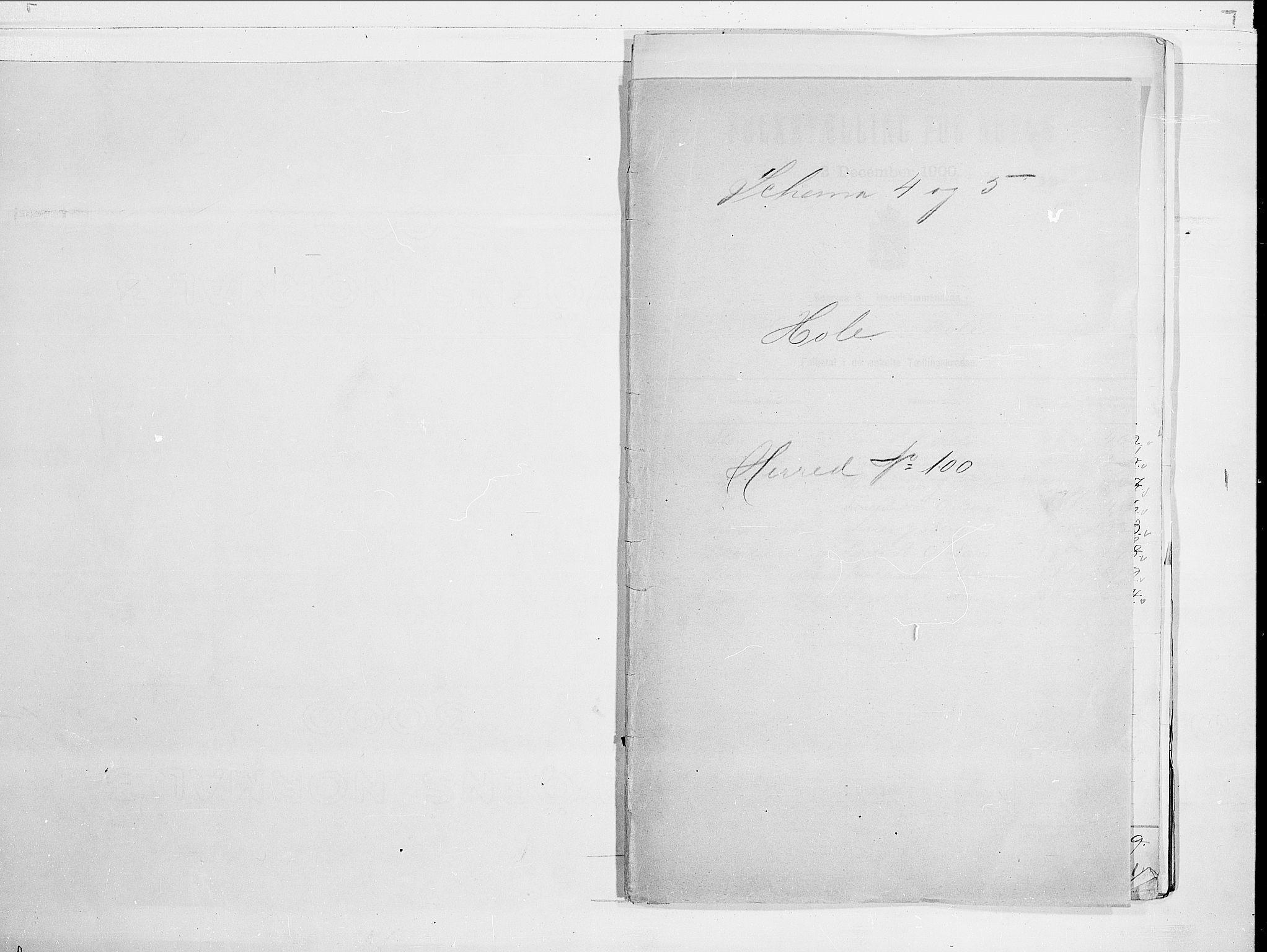 RA, Folketelling 1900 for 0612 Hole herred, 1900, s. 1